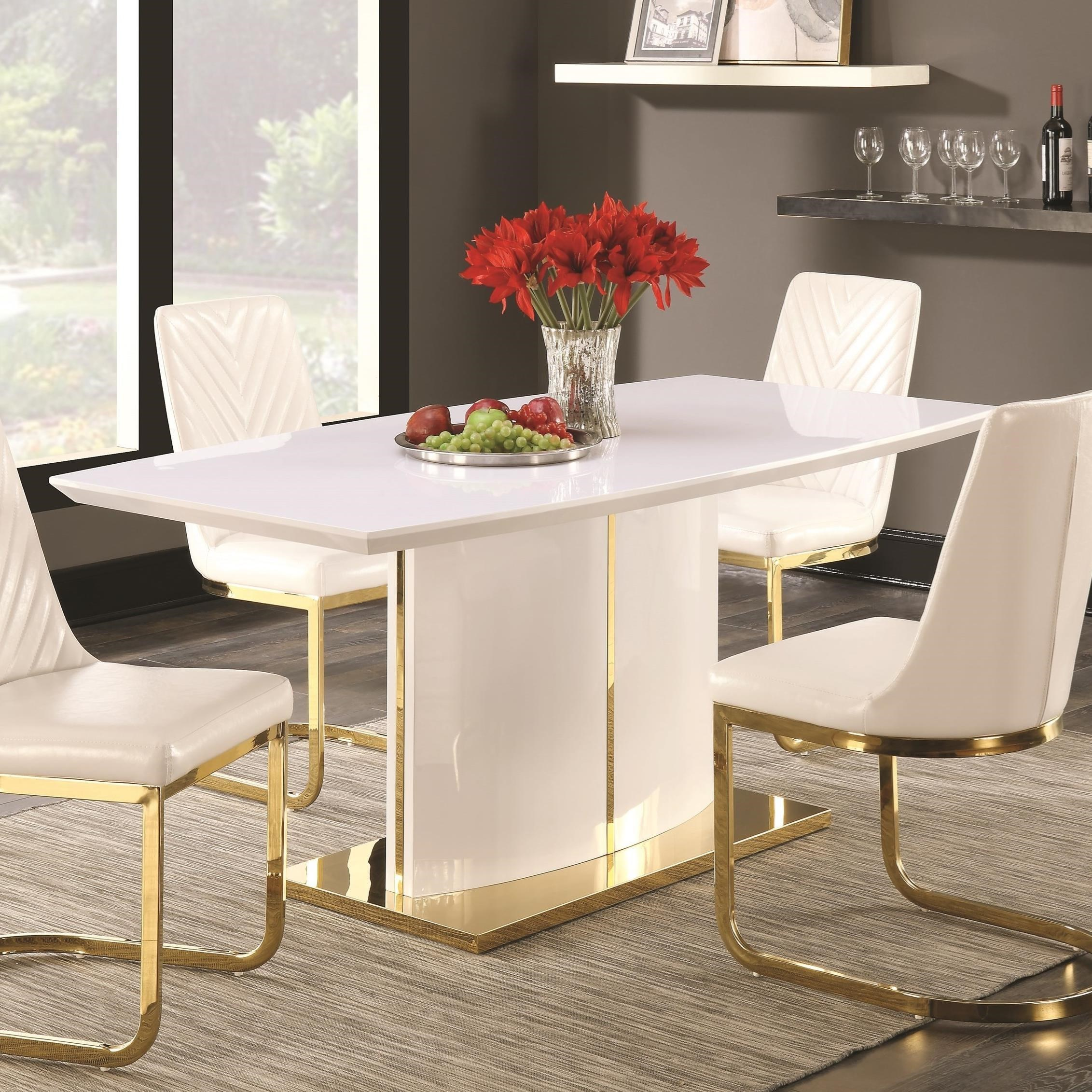 White And Gold Dining Table Set, White And Gold Dining Room Set