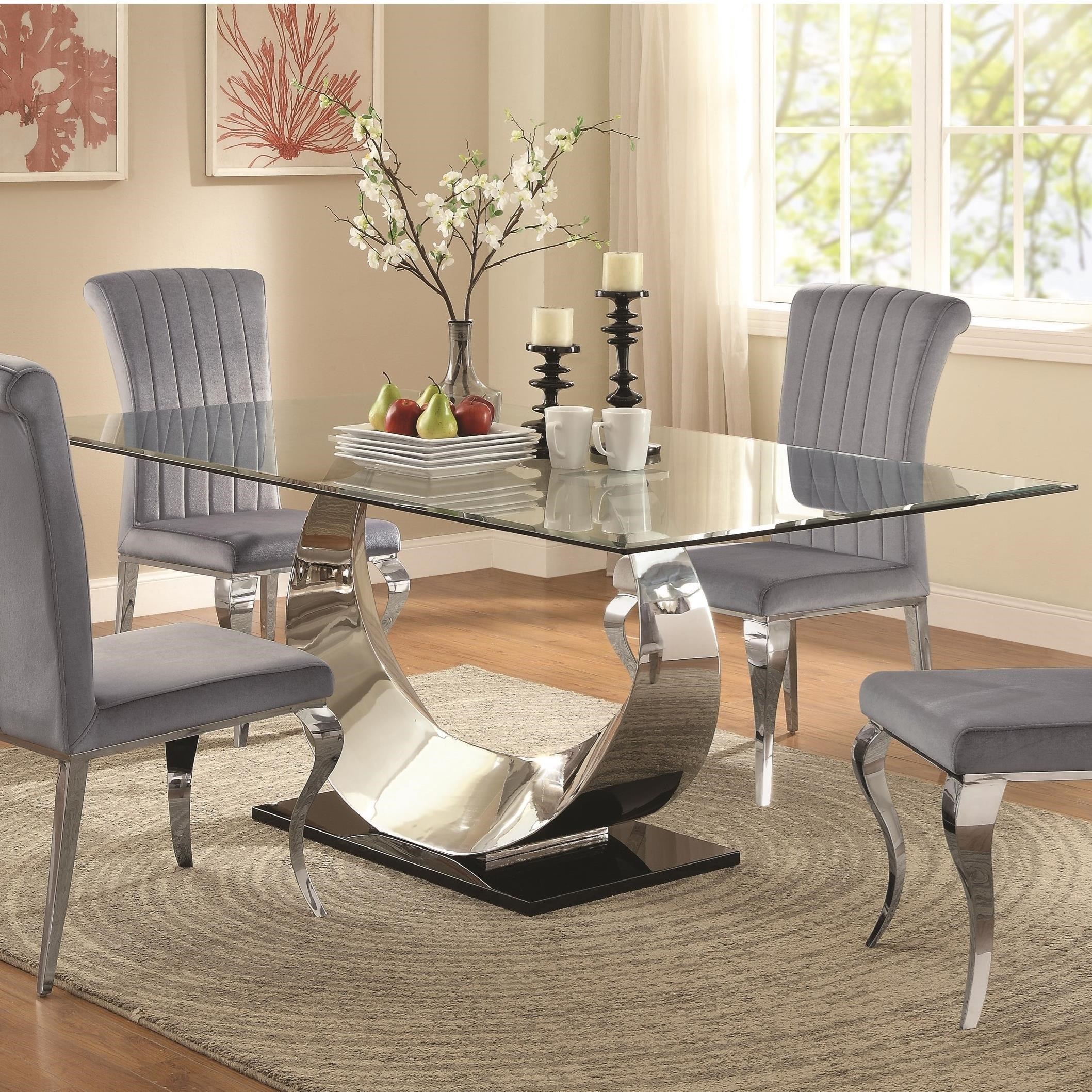 Manessier Contemporary Glass Dining Table Quality Furniture At