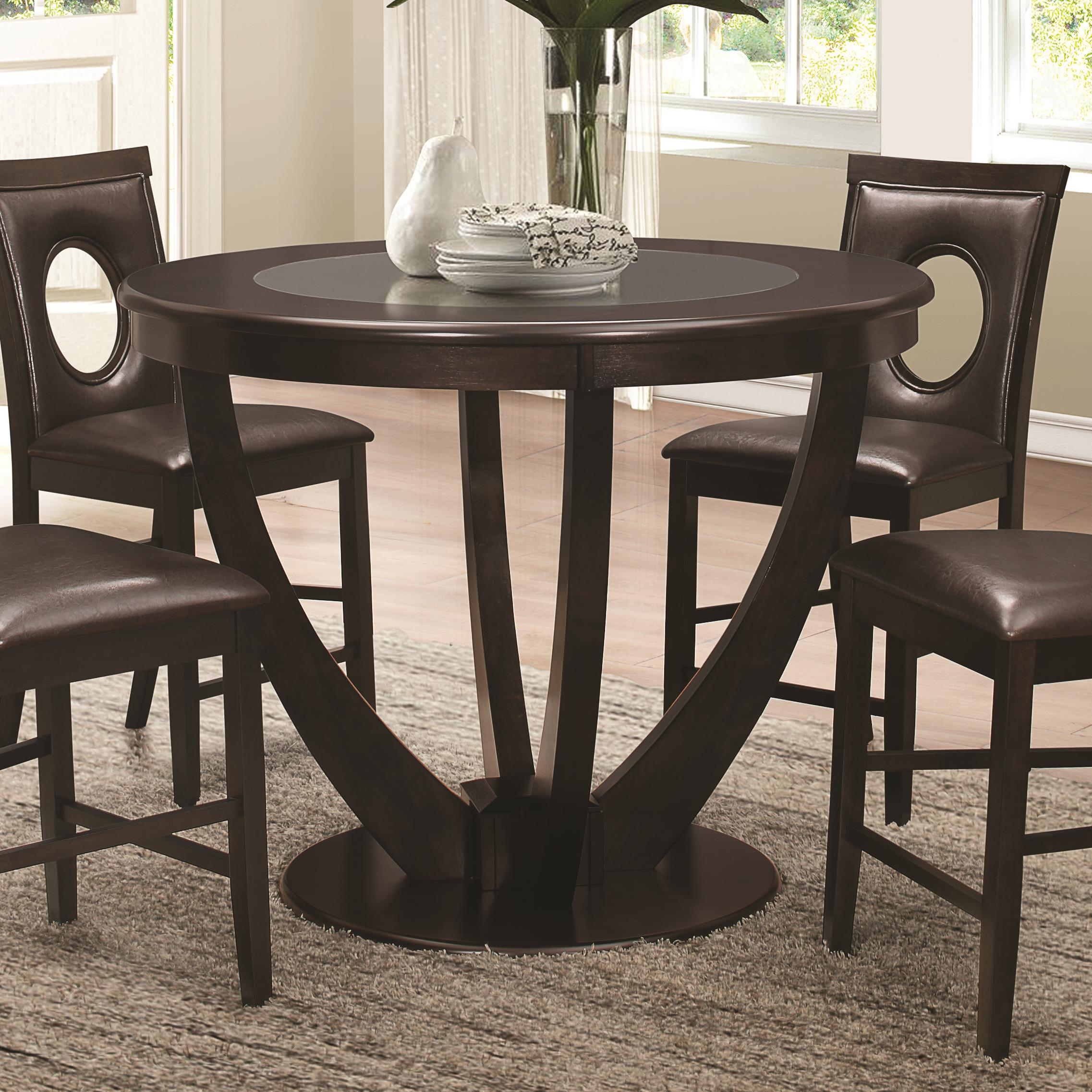 Stapleton Counter Height Table With Black Glass Top