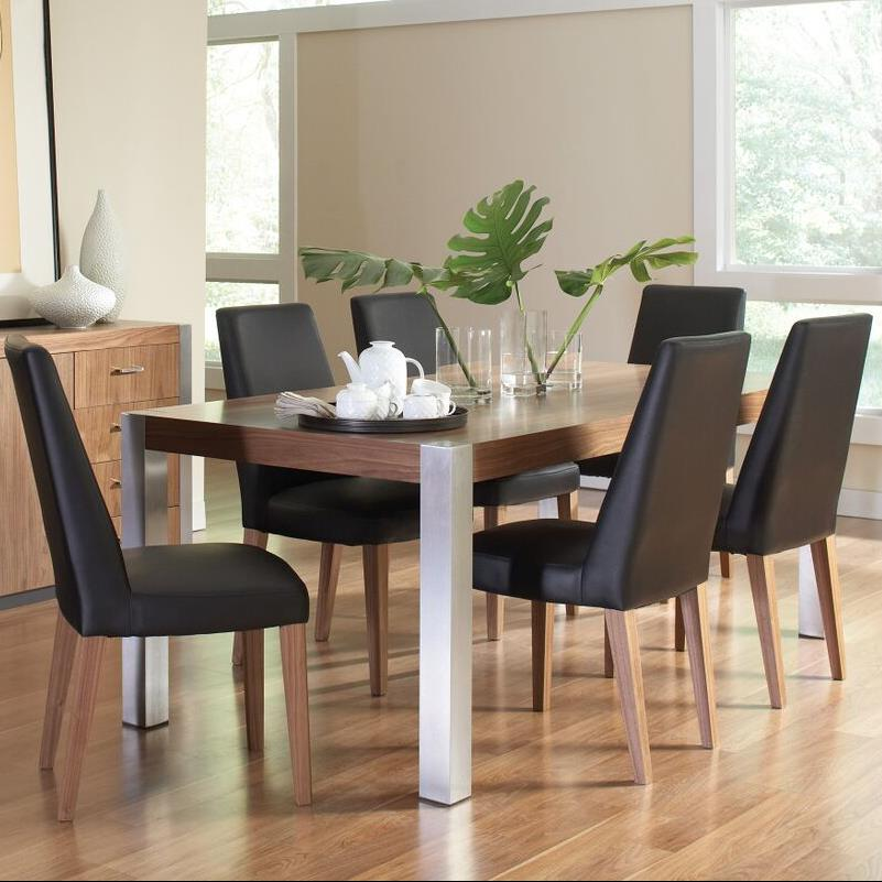 Faccini rectangular wood dining table with stainless steel for Quality wood dining tables
