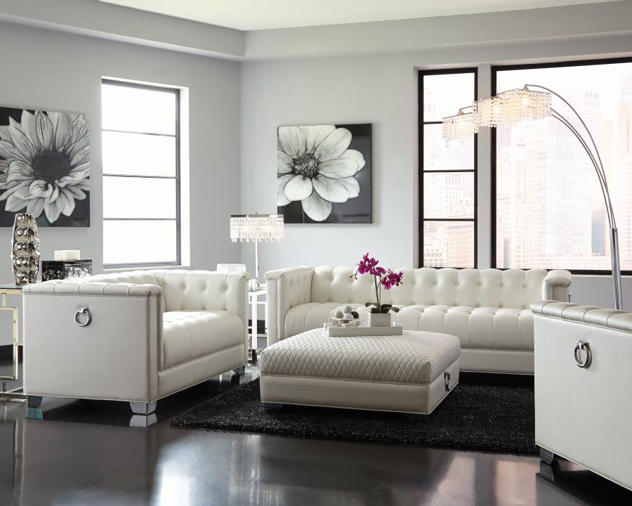 Chaviano Pearl White Leather Sofa Quality Furniture At