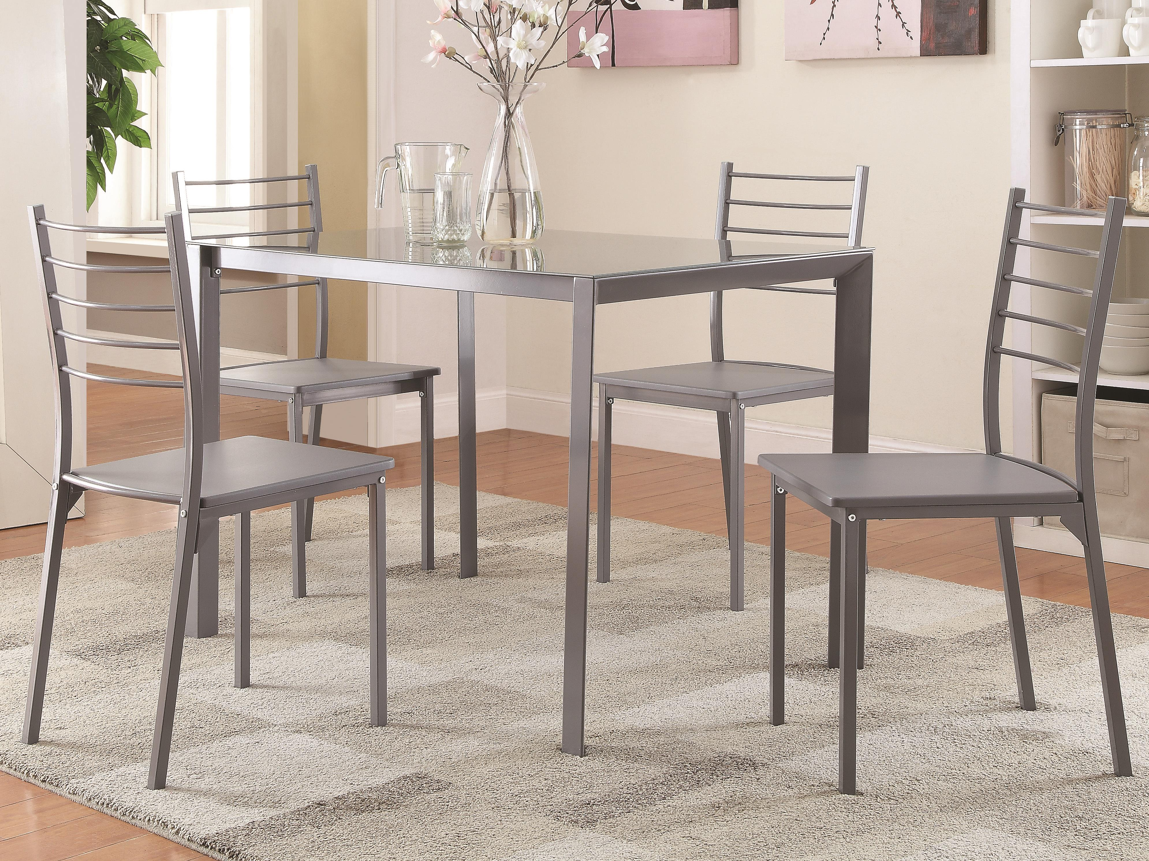 Transitional Glass Bar Height Table and Chair Set