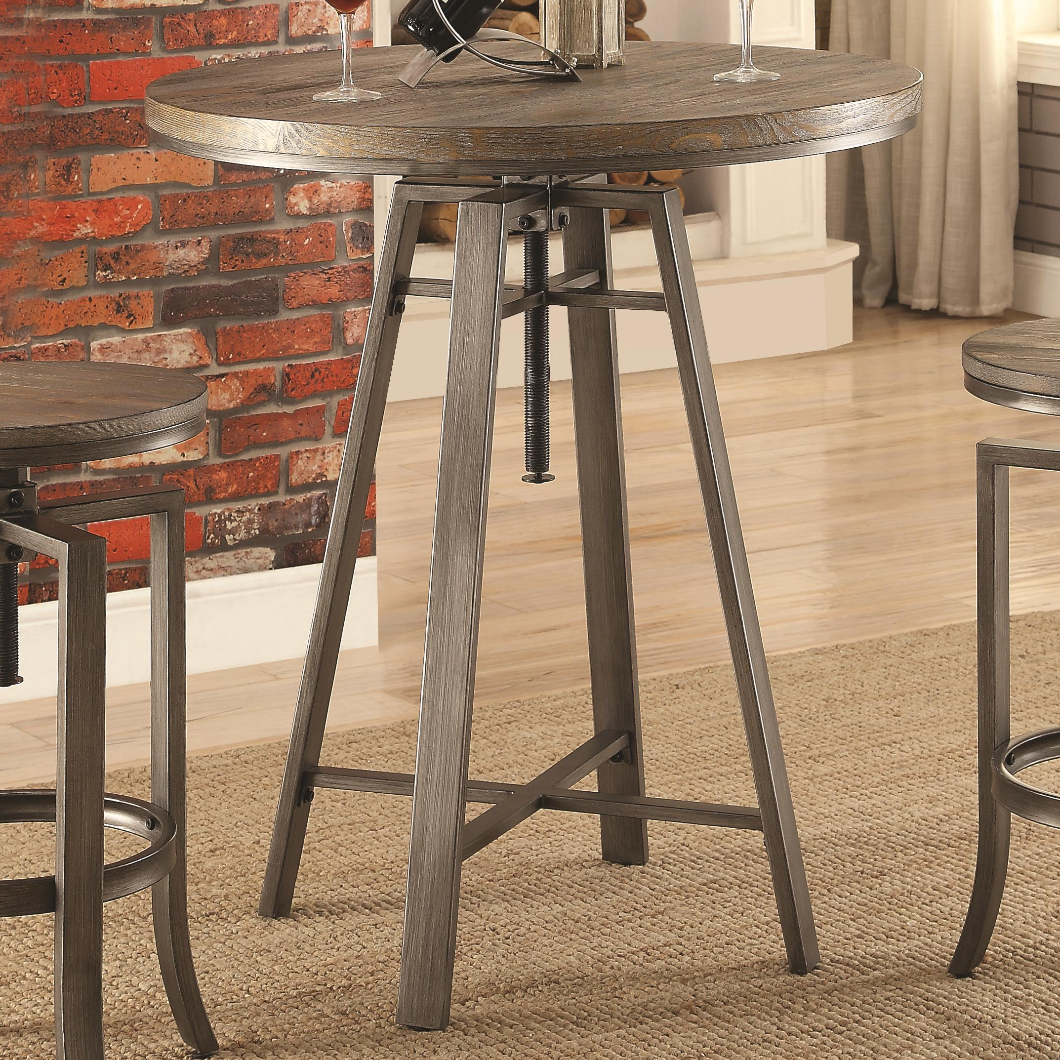 10181 Industrial Bar Table With Swivel Adjustable Height