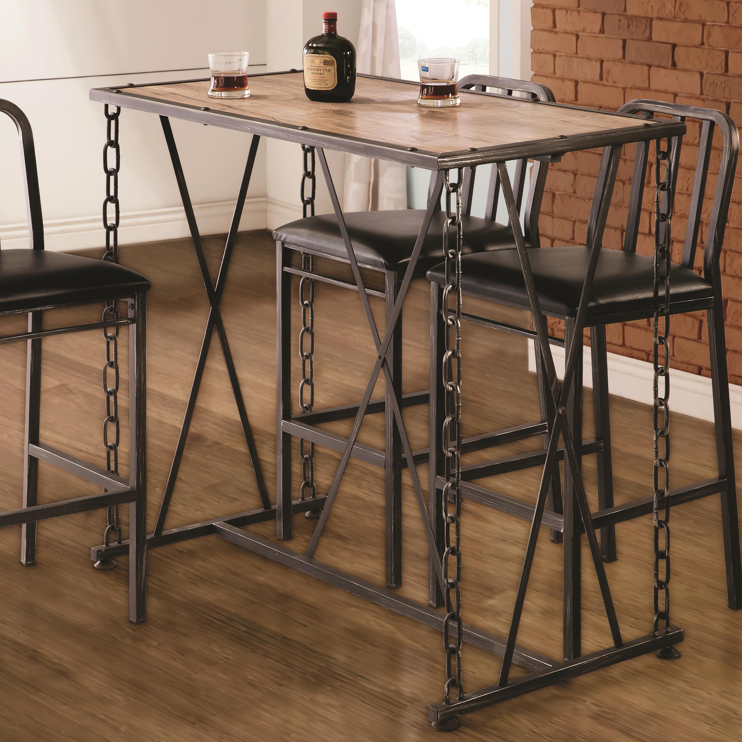10069 Rustic Industrial Chain Link Bar Table Quality