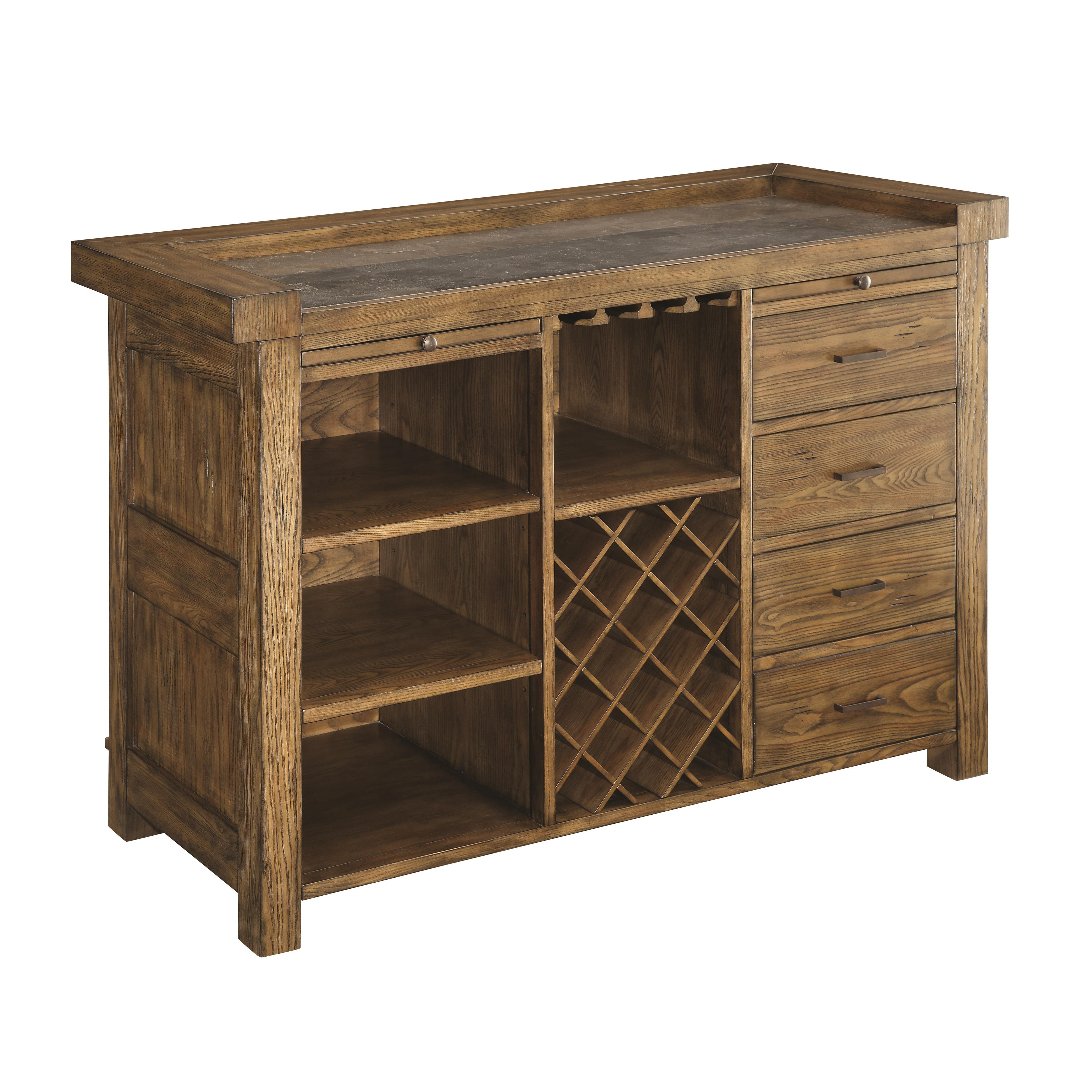 Willowbrook Rustic Arts And Crafts Bar Cabinet With Wine
