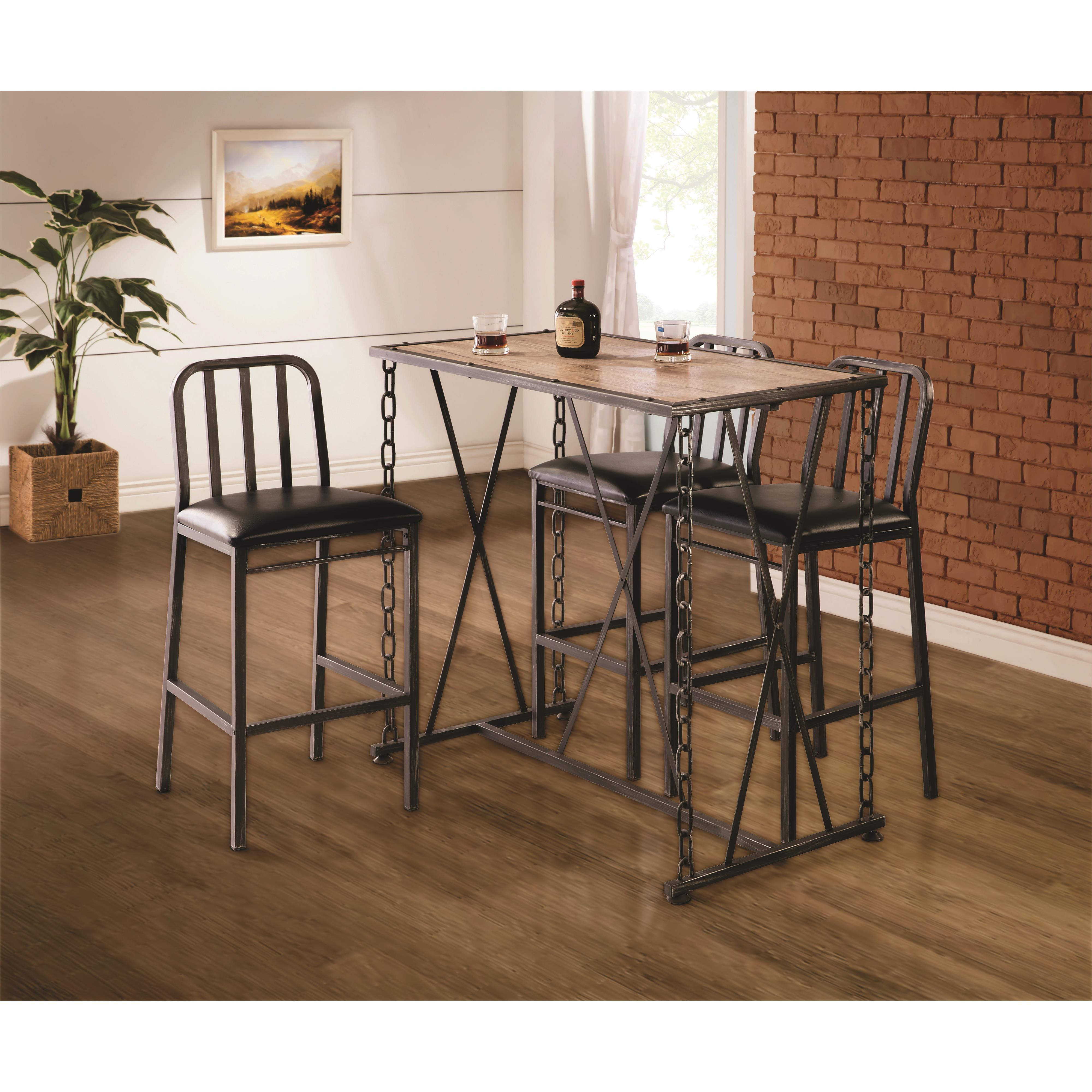 10069 rustic industrial chain link bar table quality furniture at