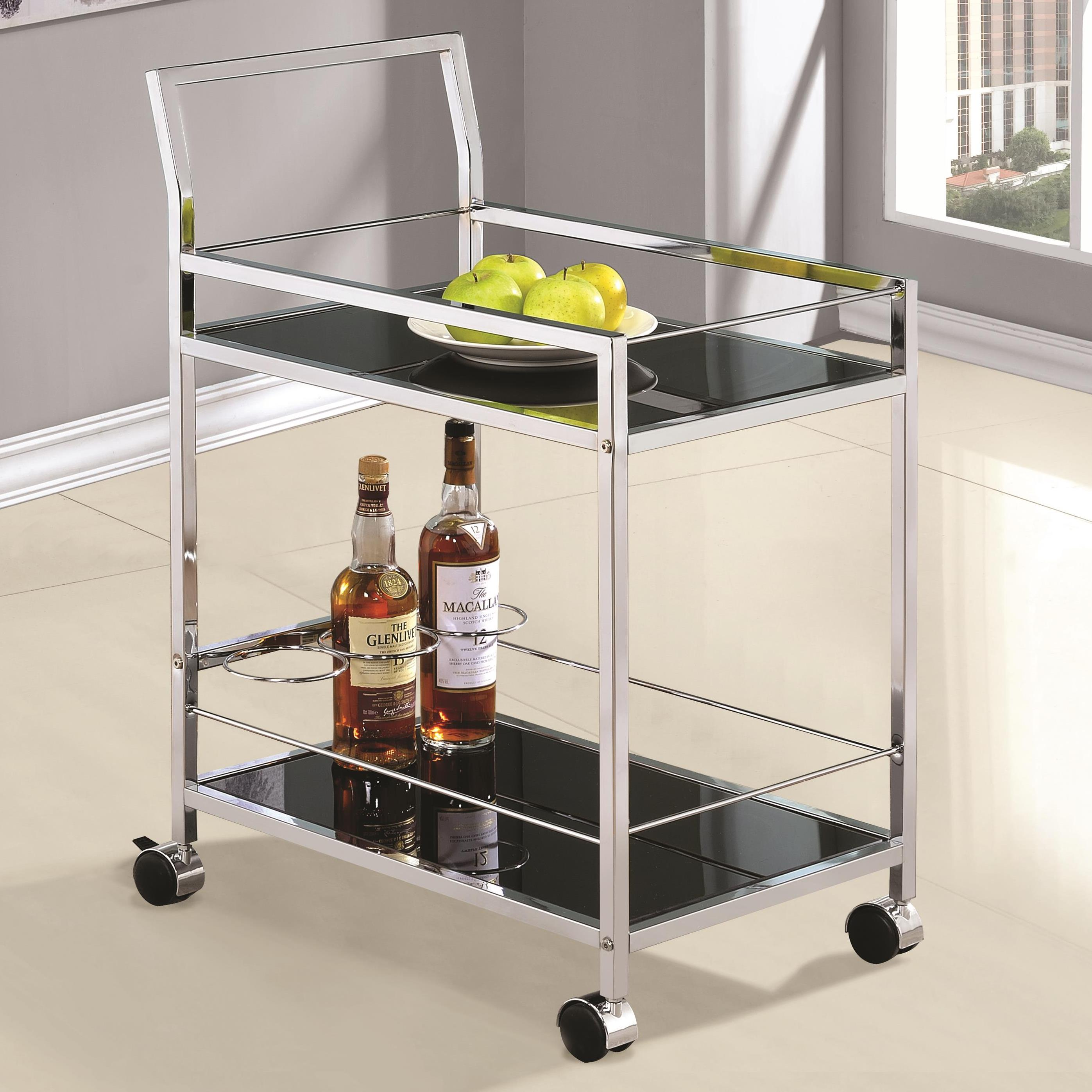 Kitchen Carts Chrome Serving Cart with Black Tempered Glass ...
