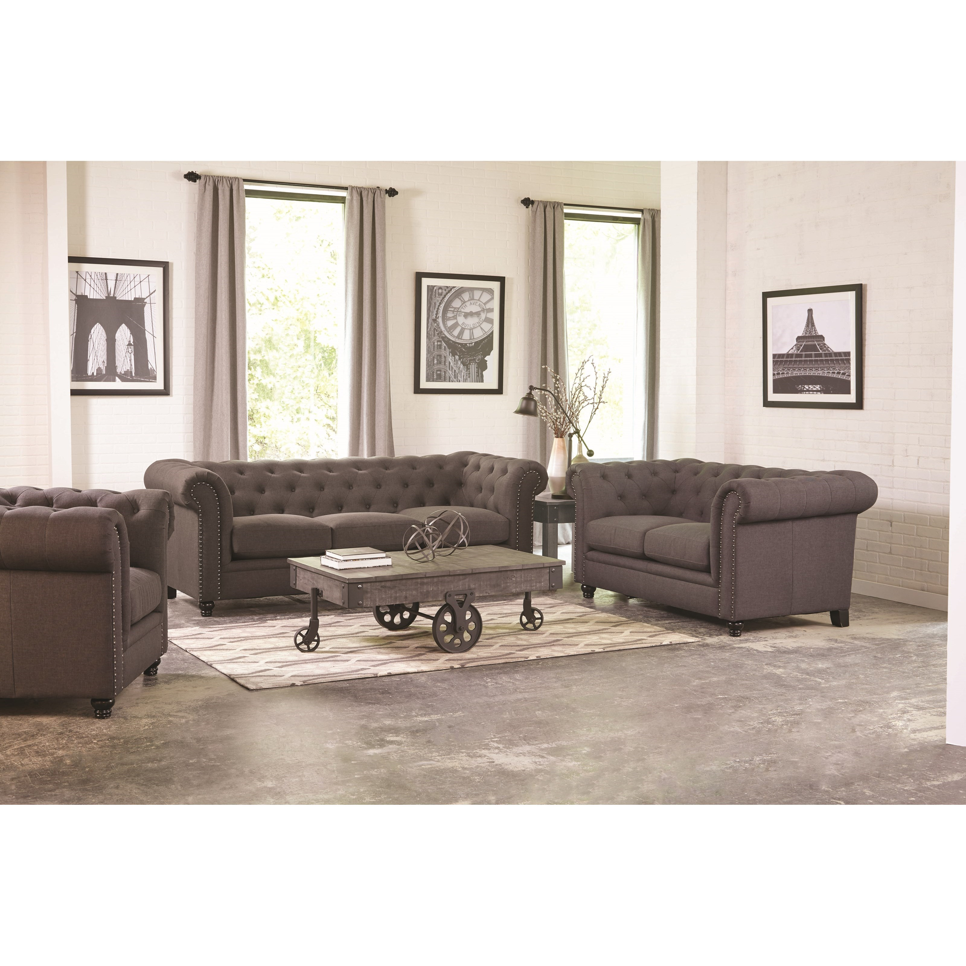 Roy traditional button tufted sofa with rolled back and for Affordable quality sofa