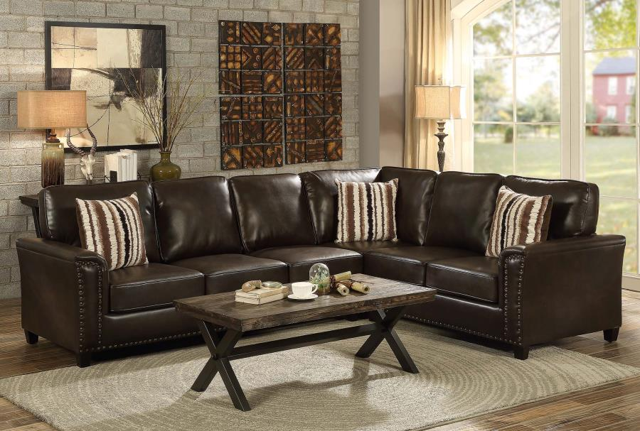Larkny Dark Brown Leather Sleeper Sectional With Nailhead