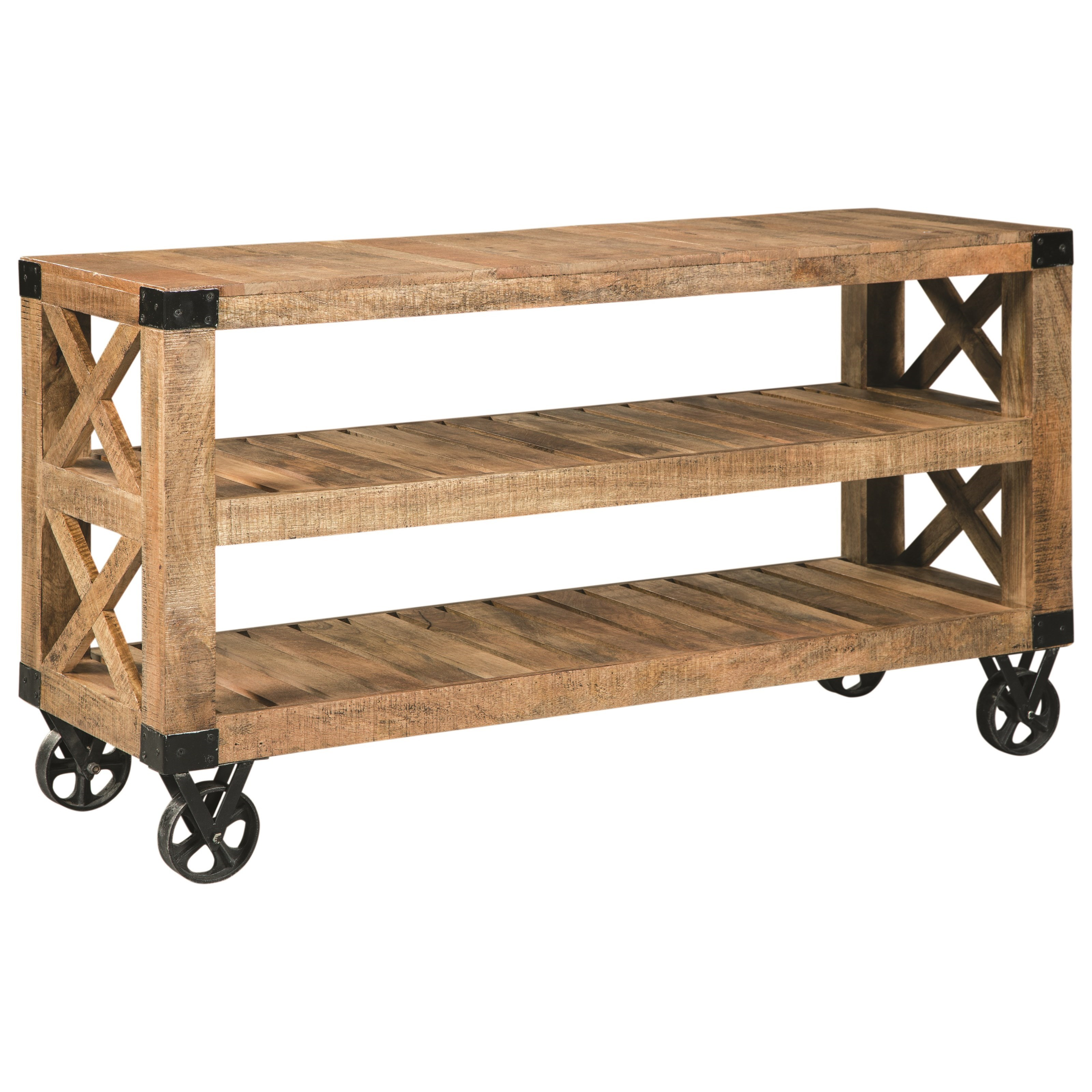 70554 Industrial Sofa Table With Casters Quality