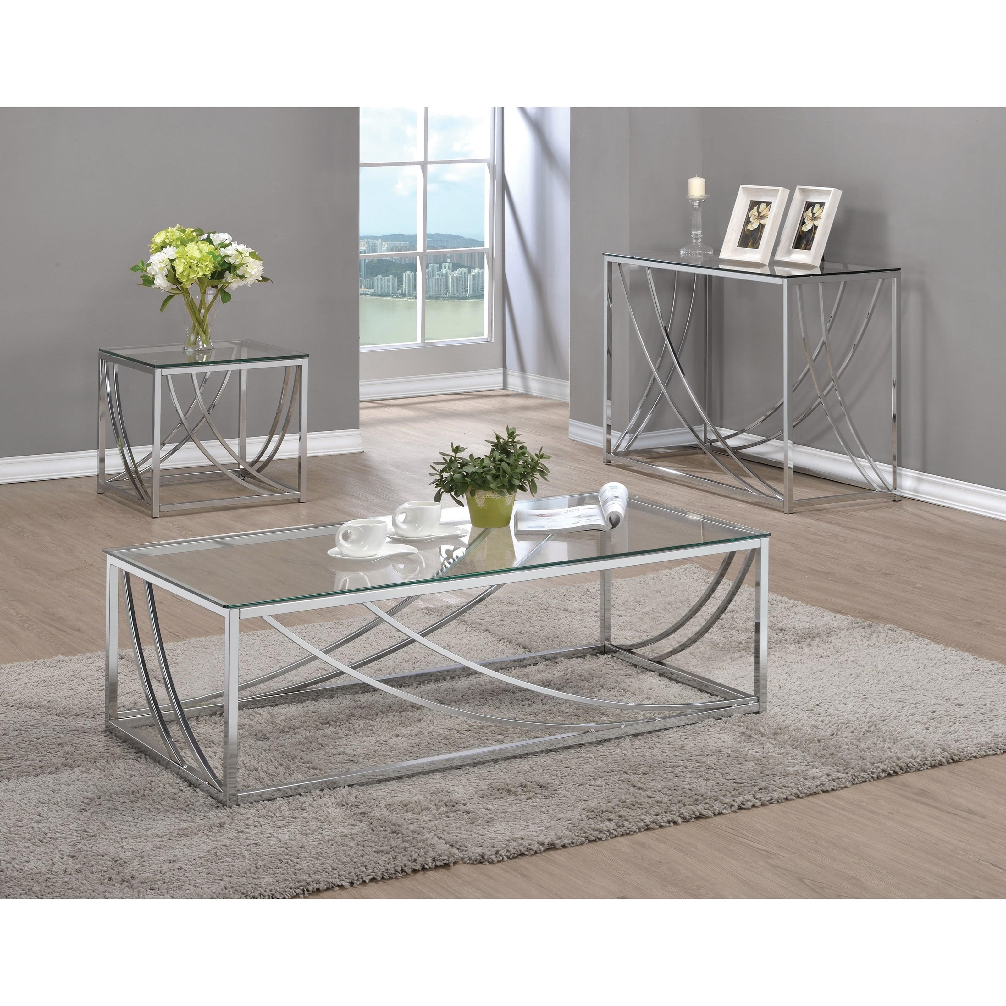 720490 Modern Glass Top End Table Quality Furniture At
