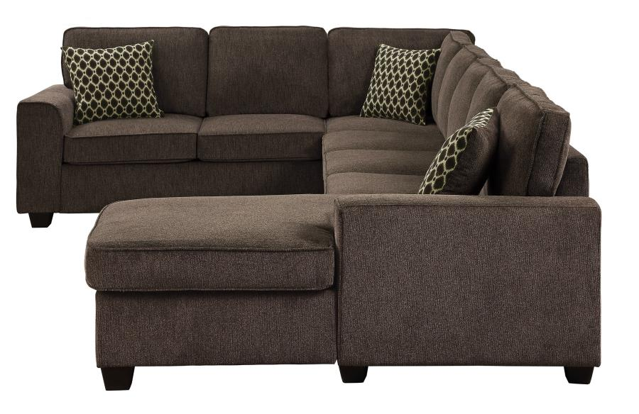 Provence Casual Brown Fabric Stationary Sectional Sofa