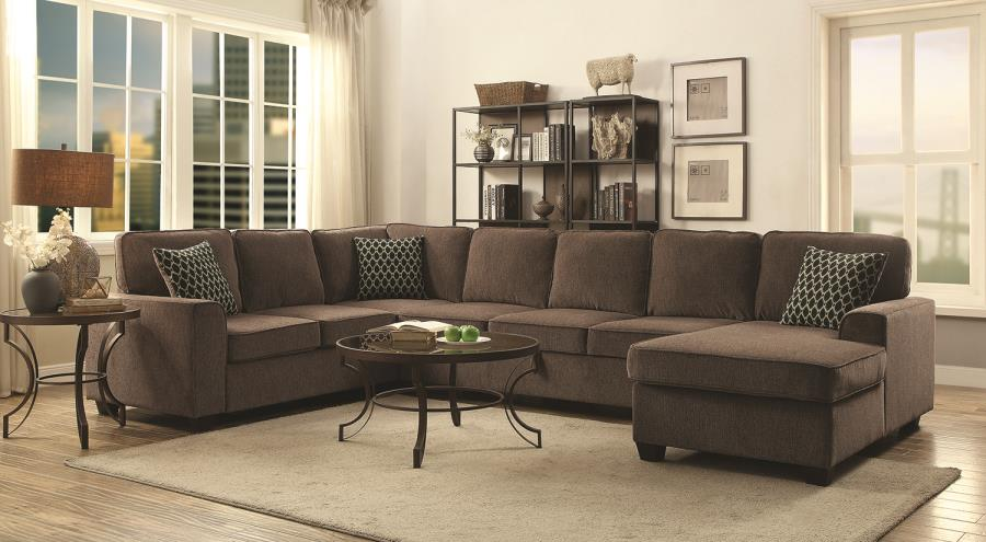 PROVENCE CASUAL BROWN FABRIC STATIONARY SECTIONAL SOFA WITH UNDER SEAT  STORAGE