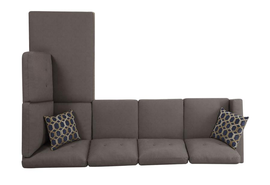 Powell Casual Grey Brown Reversible Sectional Sofa With