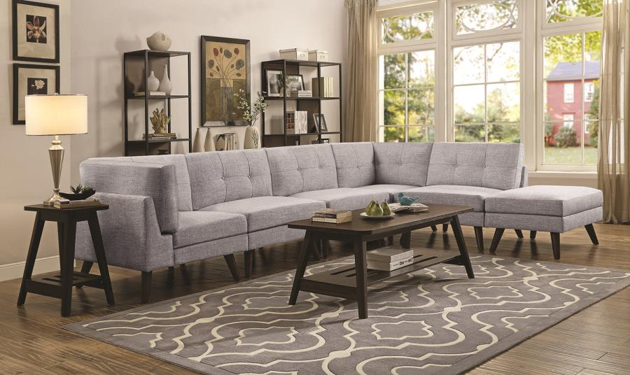 Churchill Casual Grey Brown Fabric Modern Style Modular Sectional Sofa with  cone legs