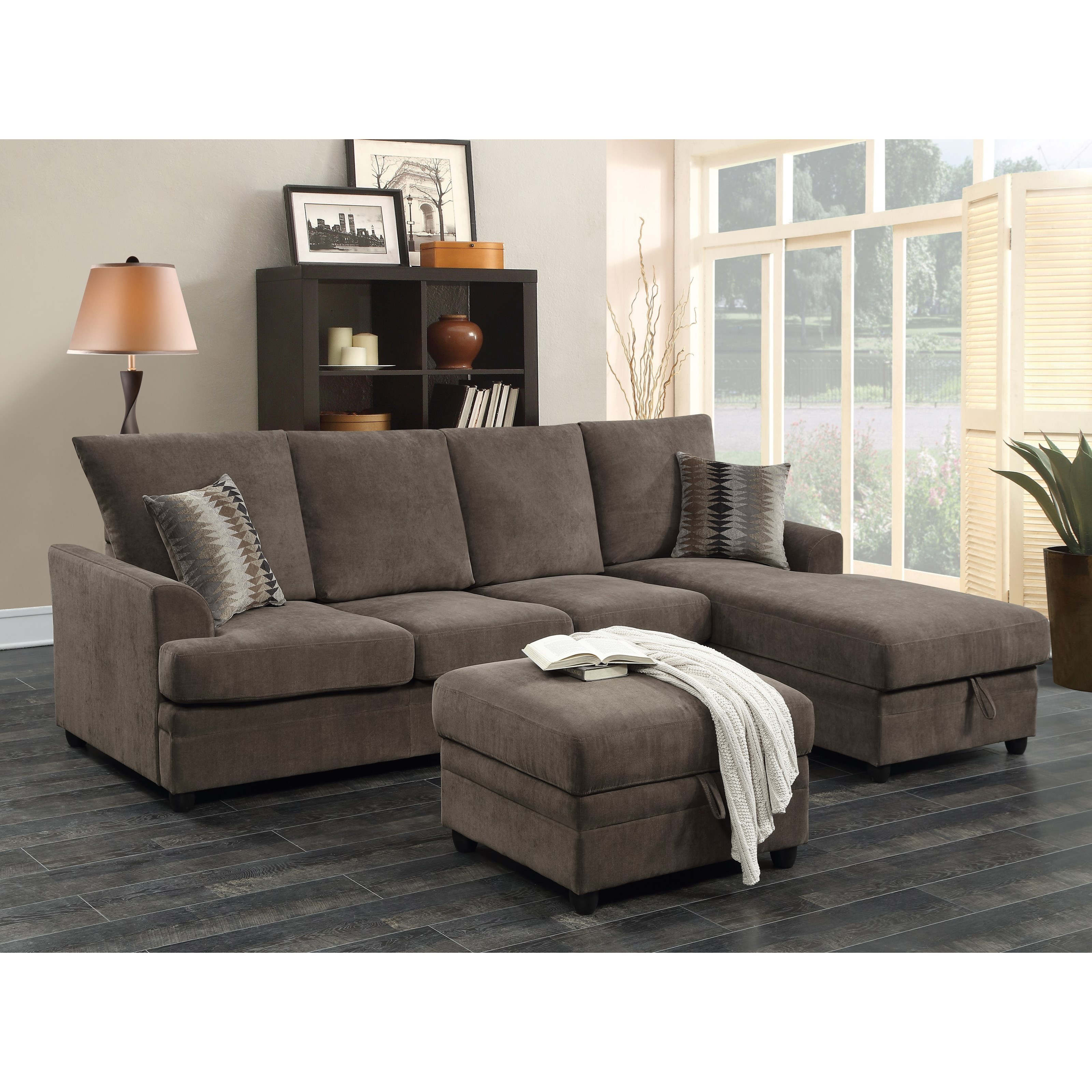 Moxie Chocolate Sectional Sofa With Sleeper Quality