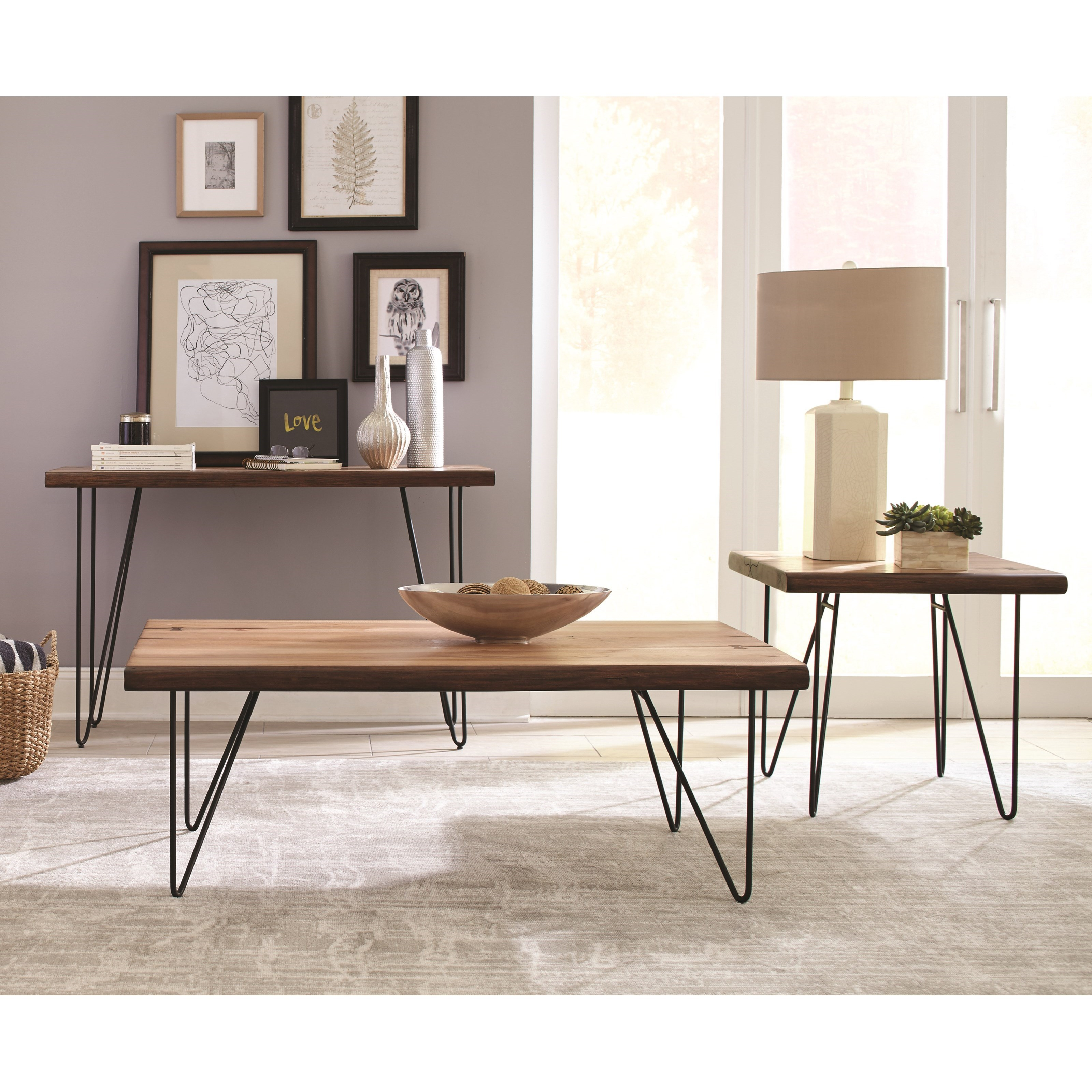 70566 Live Edge Sofa Table With Hairpin Legs Quality
