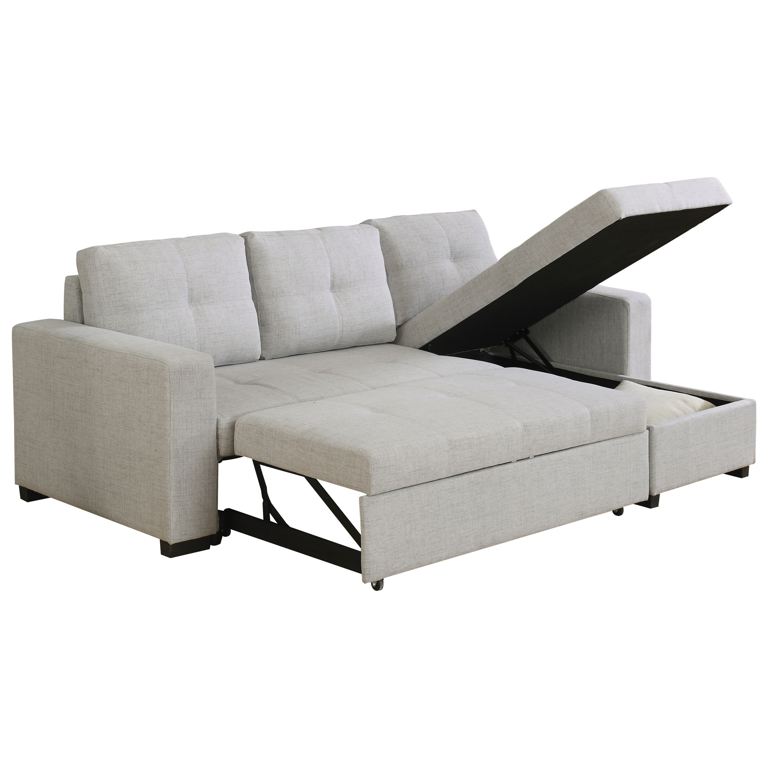 Everly Beige Reversible Sectional Sofa with Sleeper ...