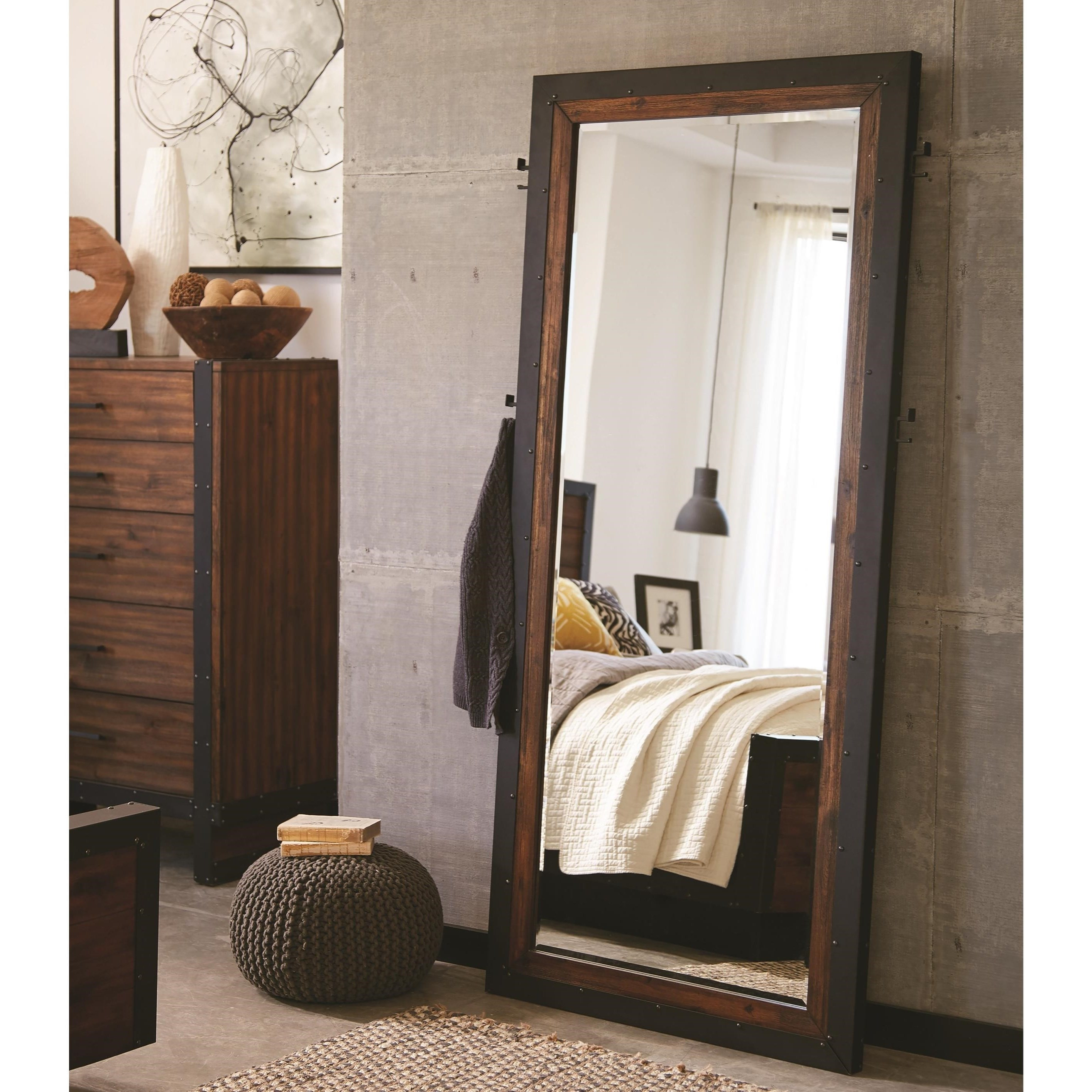 Ellison Industrial Floor Mirror with Metal Frame | Quality furniture ...
