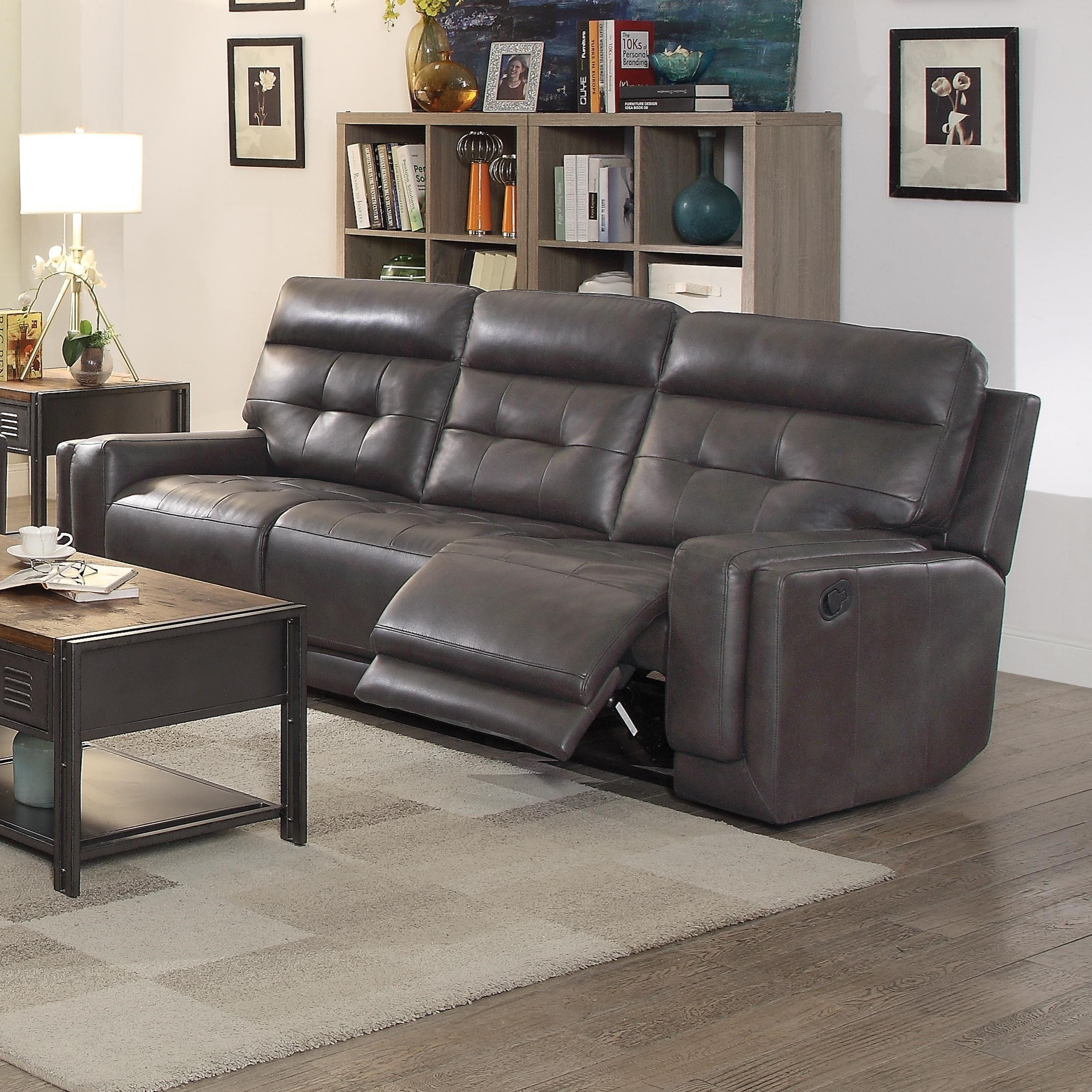 Trenton Motion Sofa With Tufted Cushions And Track Arms