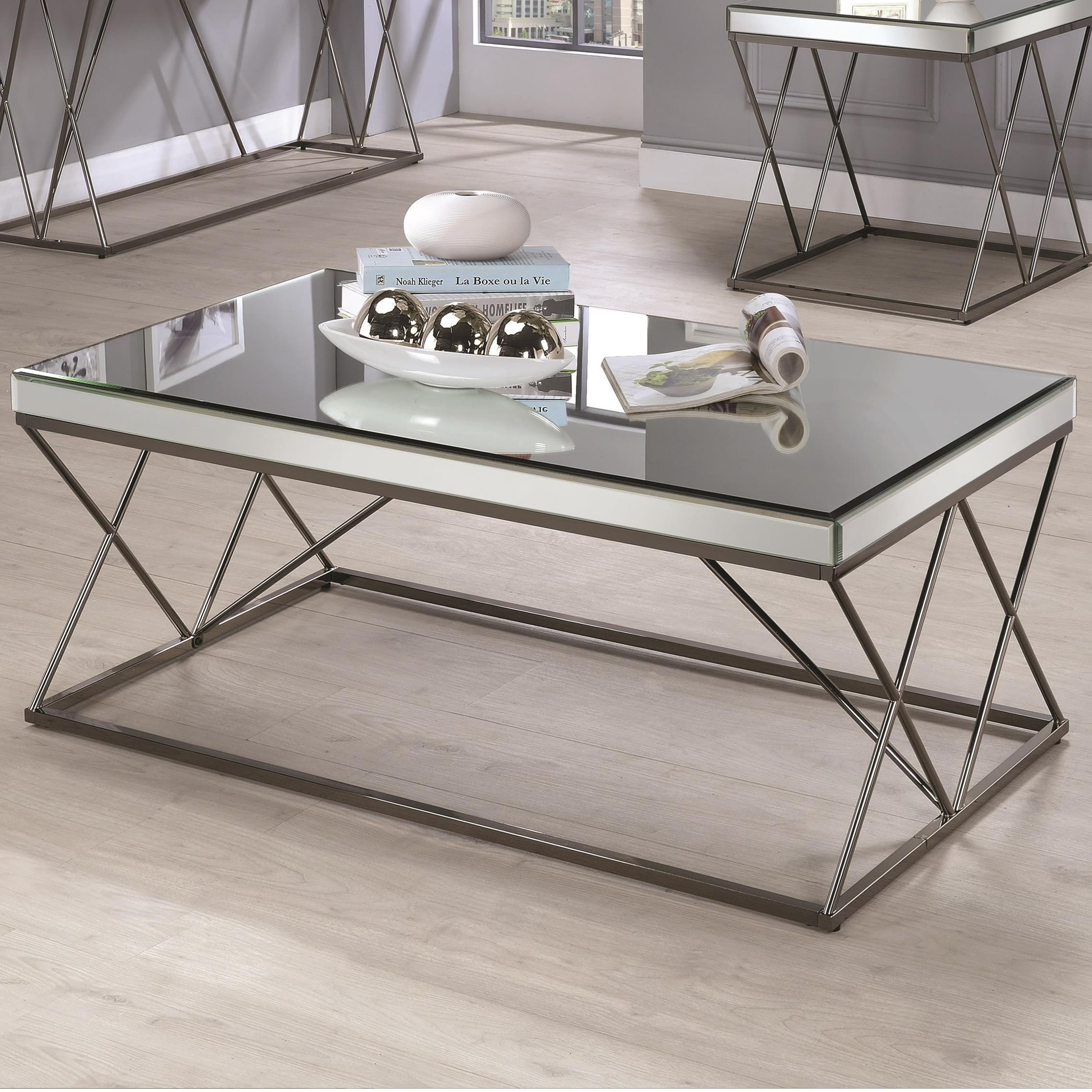 Remarkable 70547 Contemporary Mirrored Coffee Table With Metal Legs Theyellowbook Wood Chair Design Ideas Theyellowbookinfo
