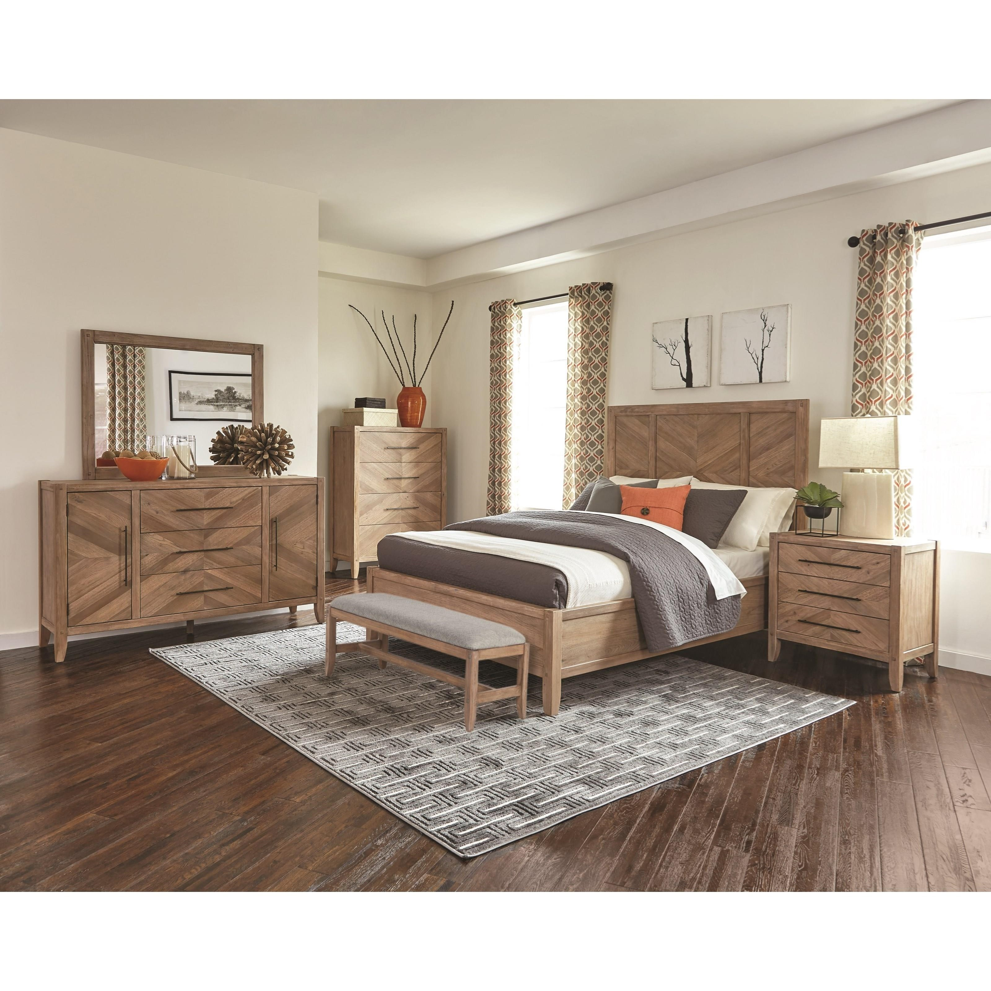 Auburn Queen Panel Bed With Chevron Inlay Design Quality