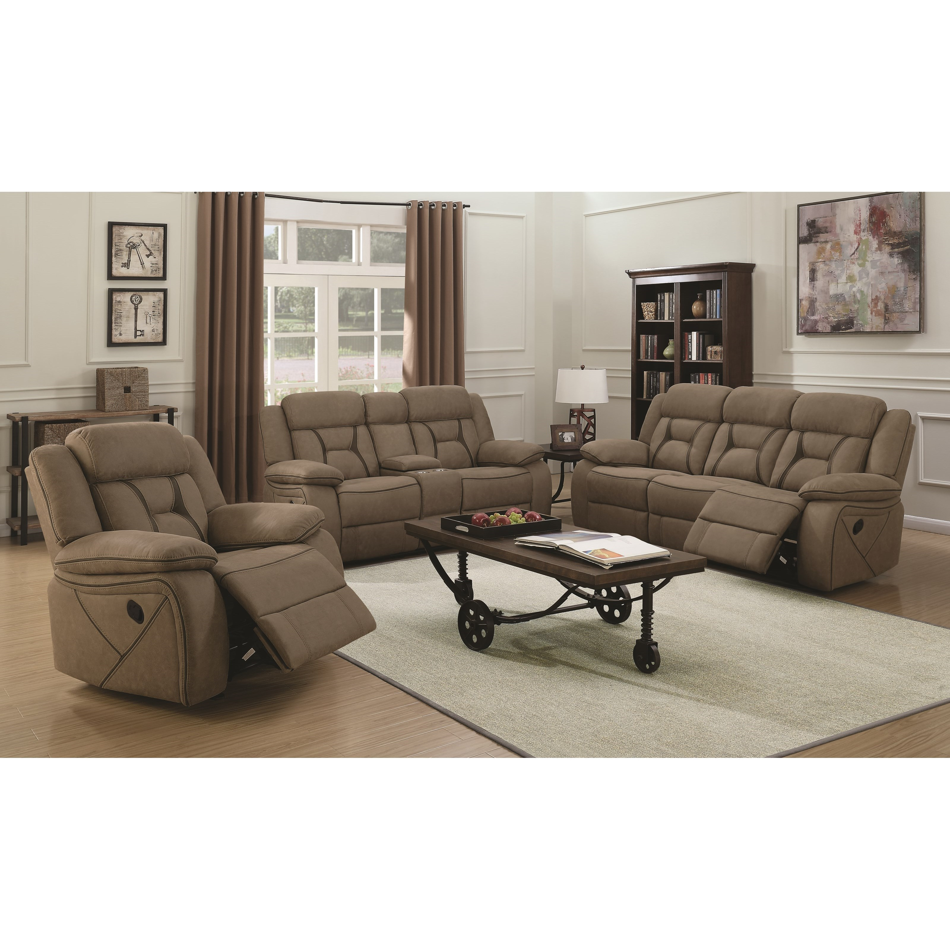 Houston Casual Pillow-Padded Reclining Sofa With Contrast