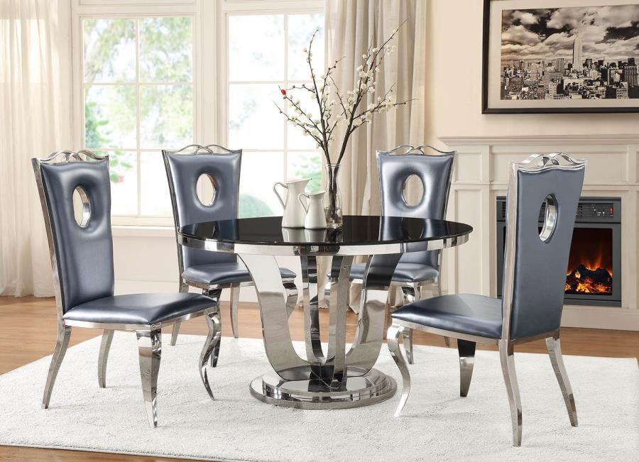 Blasio Glam Five Piece Dining Set With Round Table And Leather Chairs  (Chrome And Black)