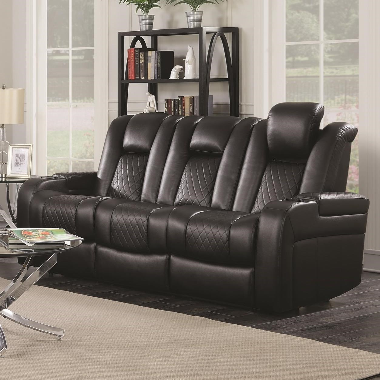 Delangelo Theater Power Leather Reclining Sofa with Cup Holders, Storage  Console and USB Port
