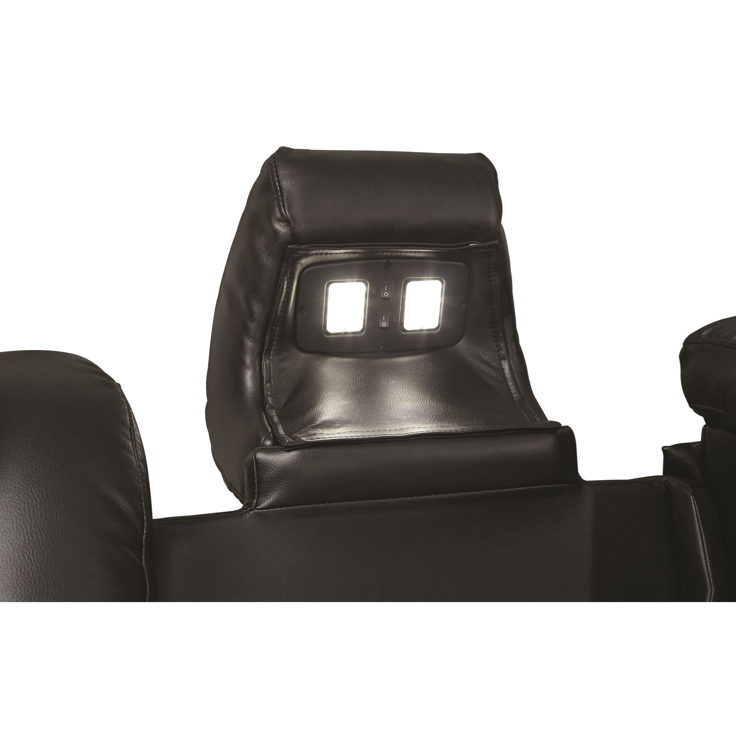 Delangelo Theater Power Leather Reclining Sofa With Cup