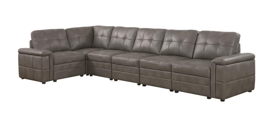 Ellington Contemporary 5 Seat Grey Leather Sectional With