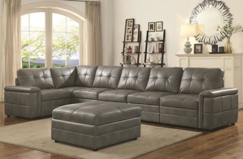Stupendous Ellington Contemporary 5 Seat Grey Leather Sectional With Padded Armrests Bralicious Painted Fabric Chair Ideas Braliciousco