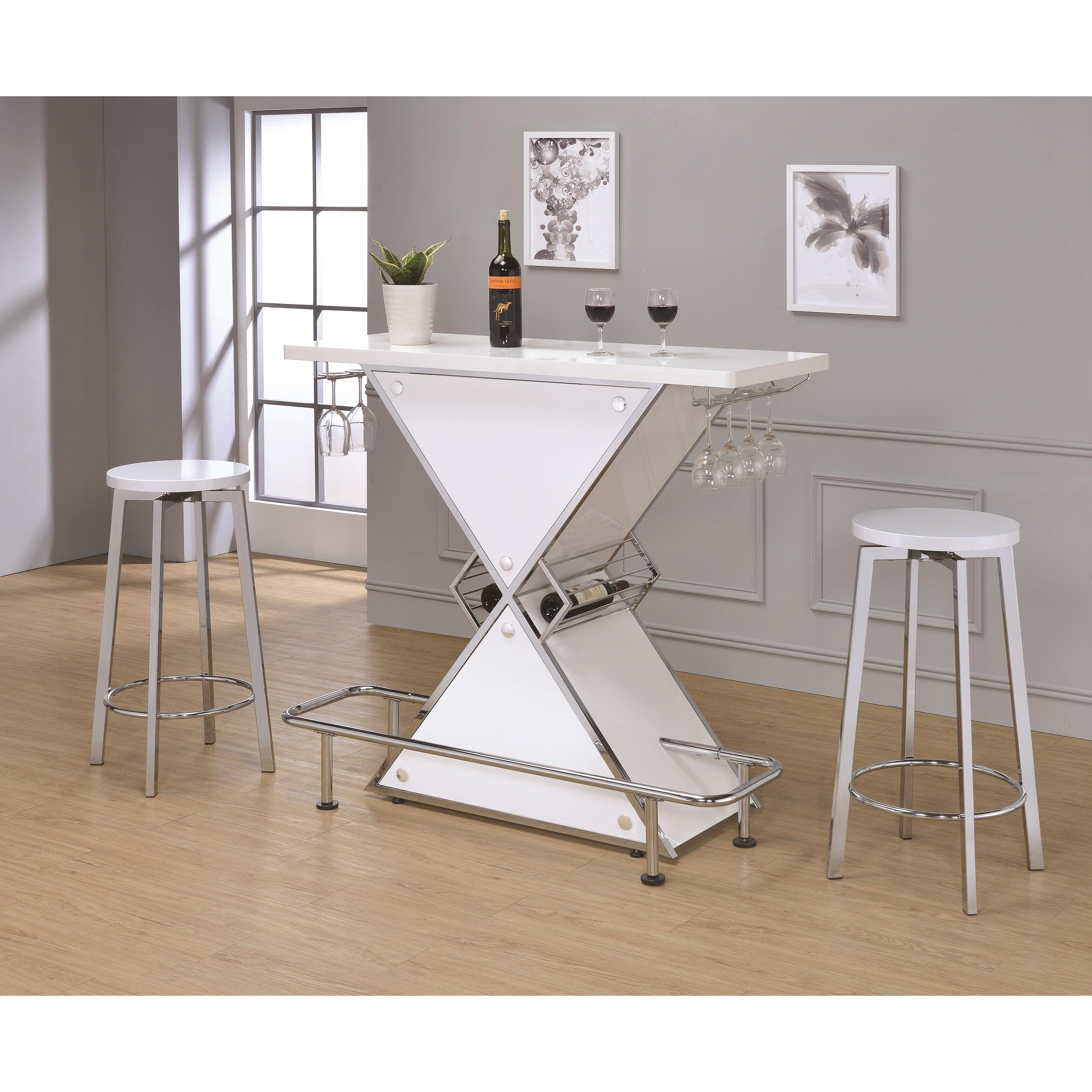 X Shaped Acrylic Bar Unit Table Wine Stemware Rack Glossy White