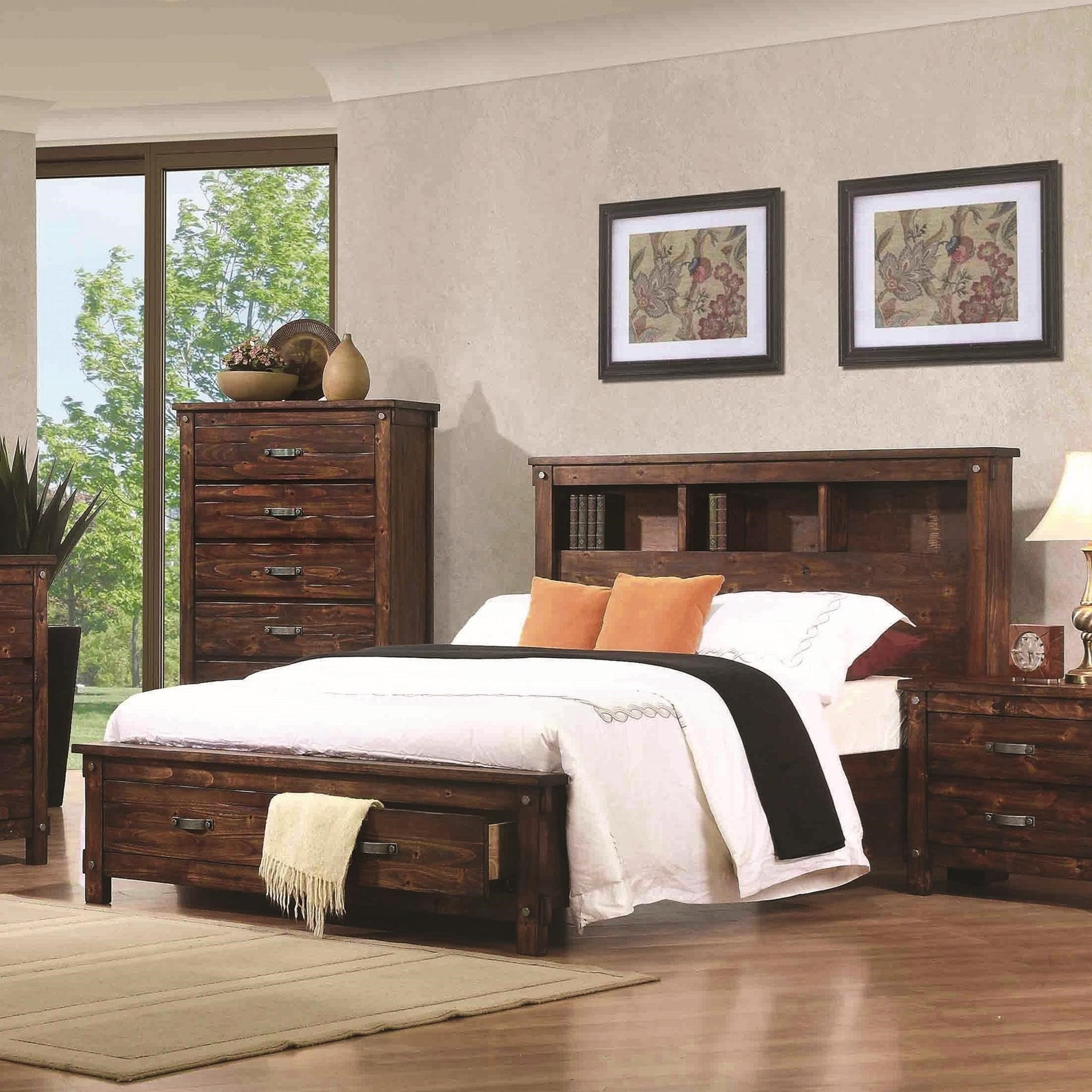 Cal King Bookcase Headboard: Noble California King Bookcase Bed