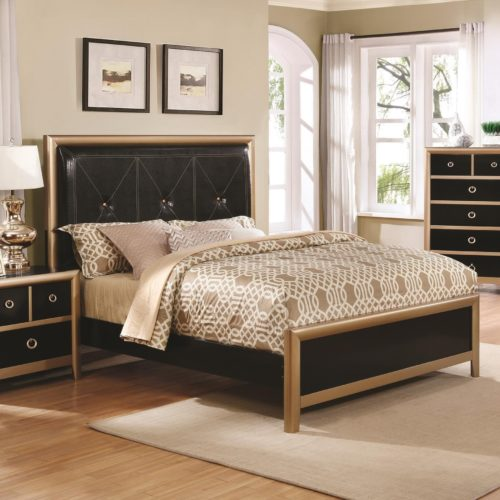 Zovatto Black And Gold Art Deco Queen Bed With Upholstered