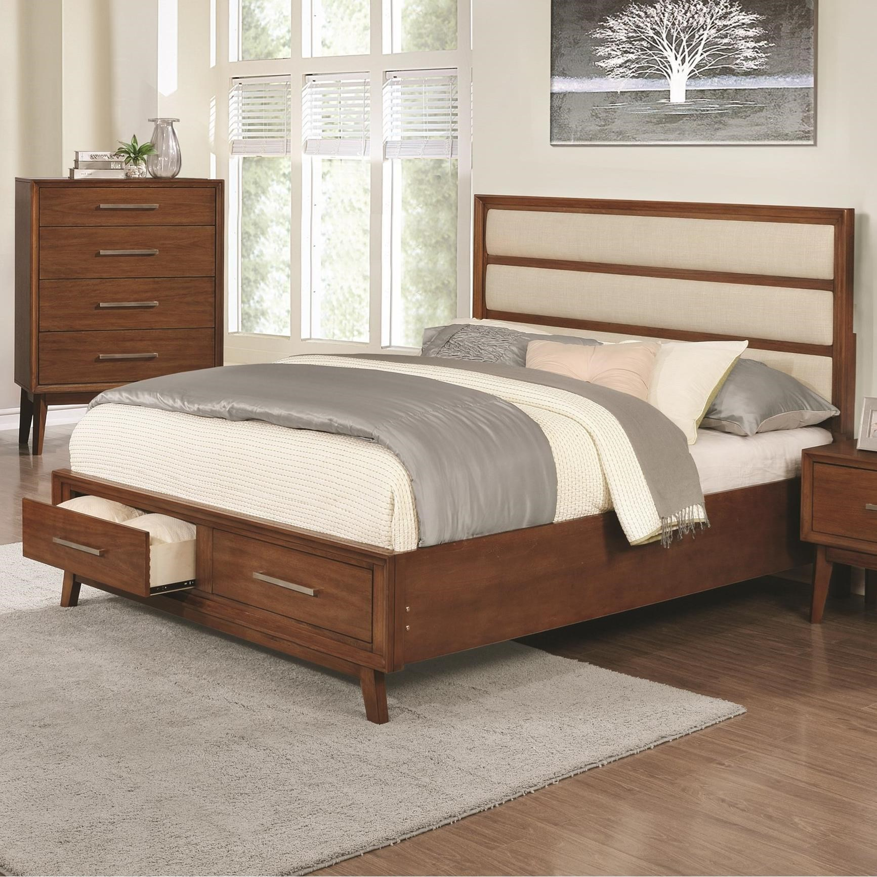 Banning upholstered panel california king bed with 2 for Upholstered bed with drawers