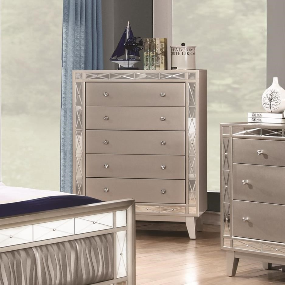 Leighton 5 Drawer Chest With Crystal Finished Knob Hardware Quality Furniture At Affordable