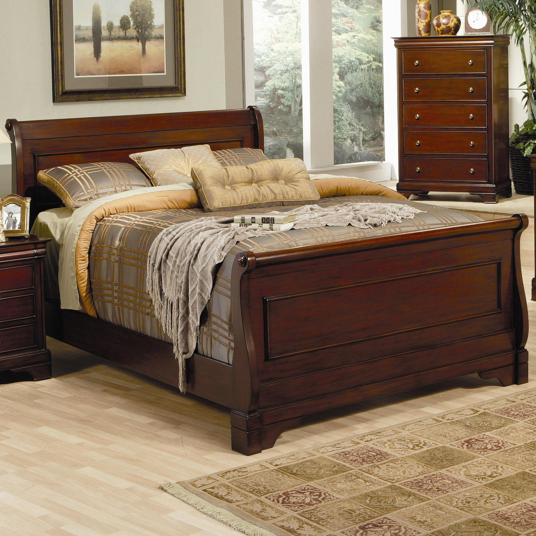 Versailles California King Sleigh Bed With Deep Mahogany Stain Quality Furniture At Affordable Prices In Philadelphia Main Line Pa