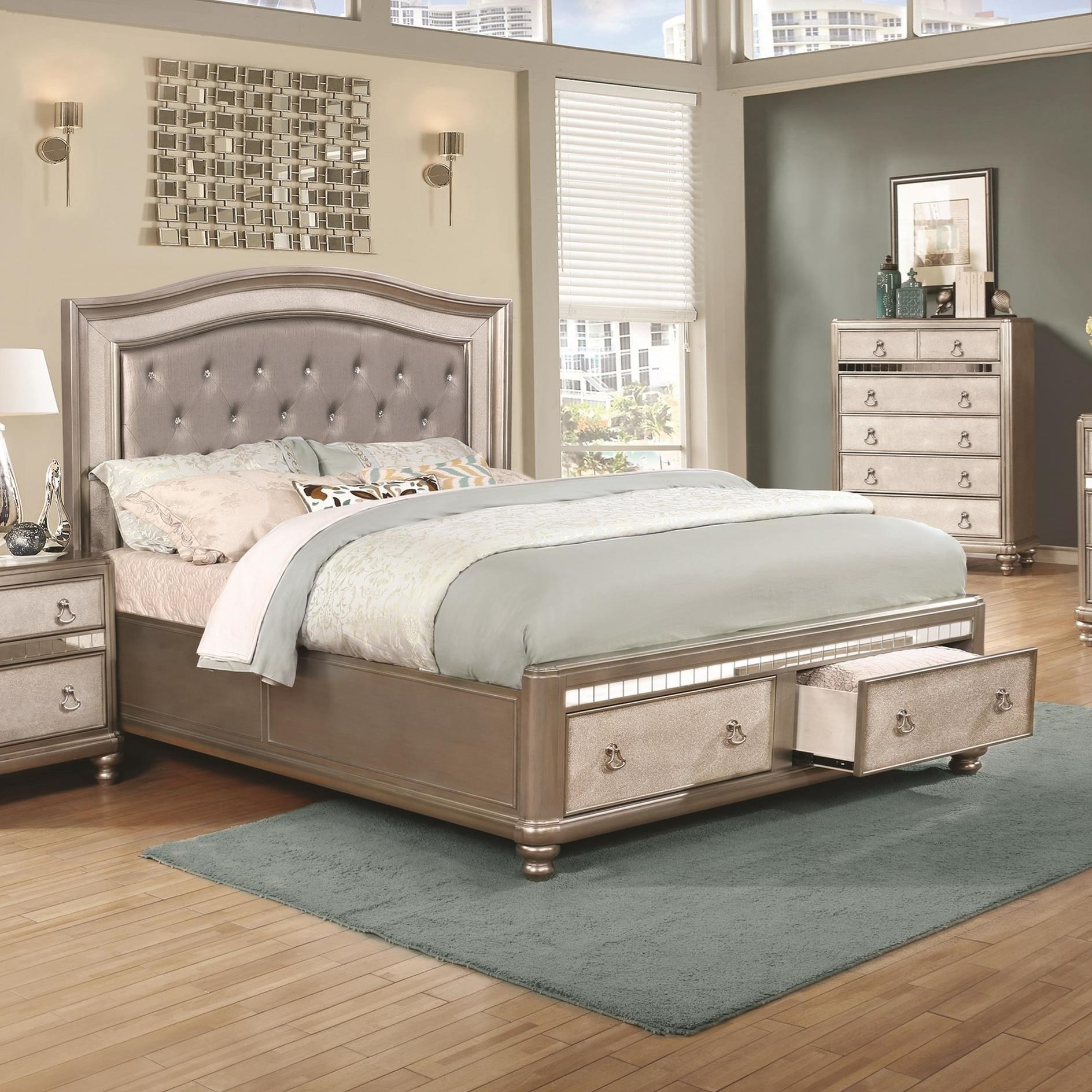 Bling game upholstered california king bed with footboard for Upholstered king bed with storage