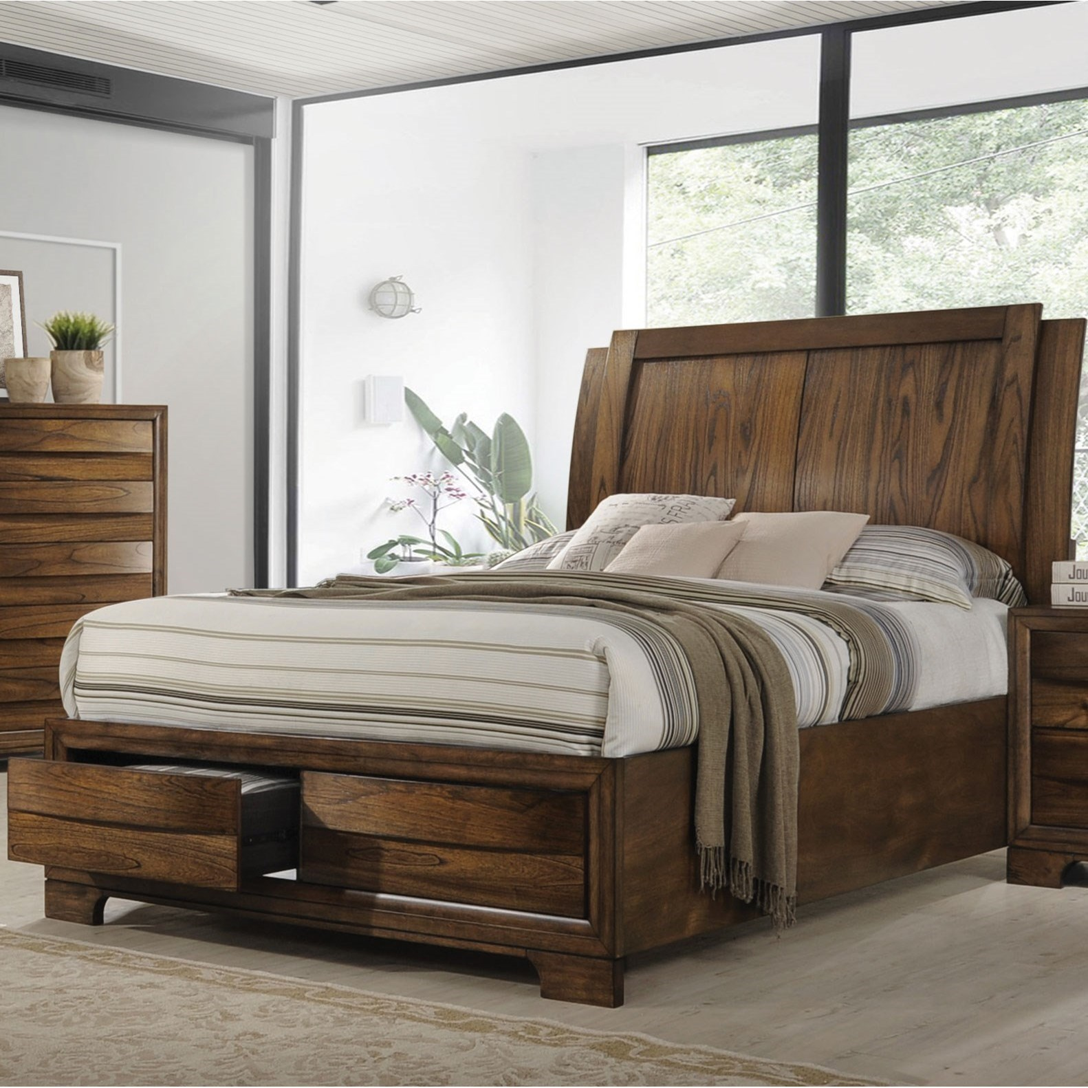 Hunter Queen Platform Bed With Storage Footboard Quality Furniture At Affordable Prices In