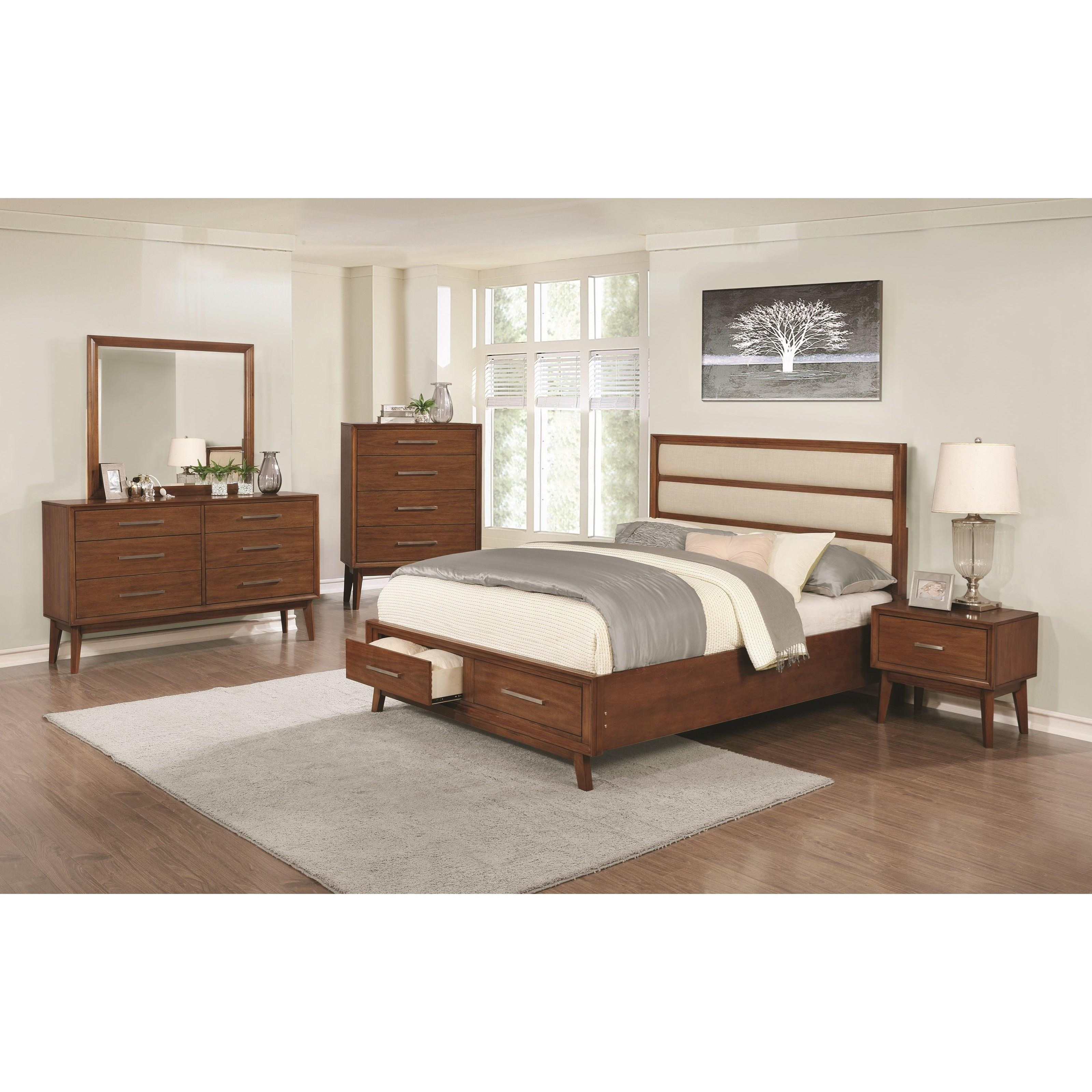Banning upholstered panel queen bed with 2 footboard for Queen upholstered bed with drawers