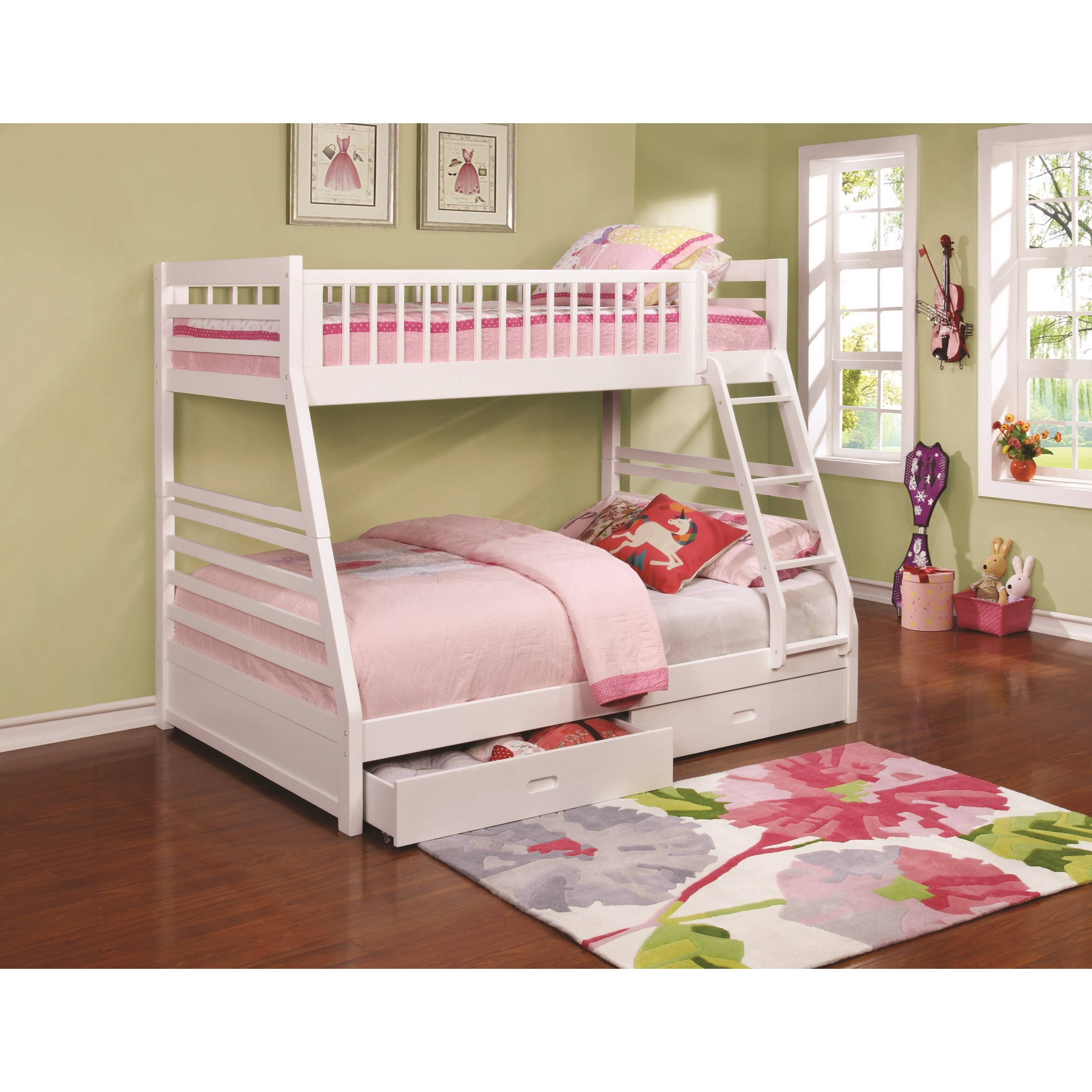 Bunks twin over full bunk bed with 2 drawers and attached ladder quality furniture at - Beds with desks attached ...