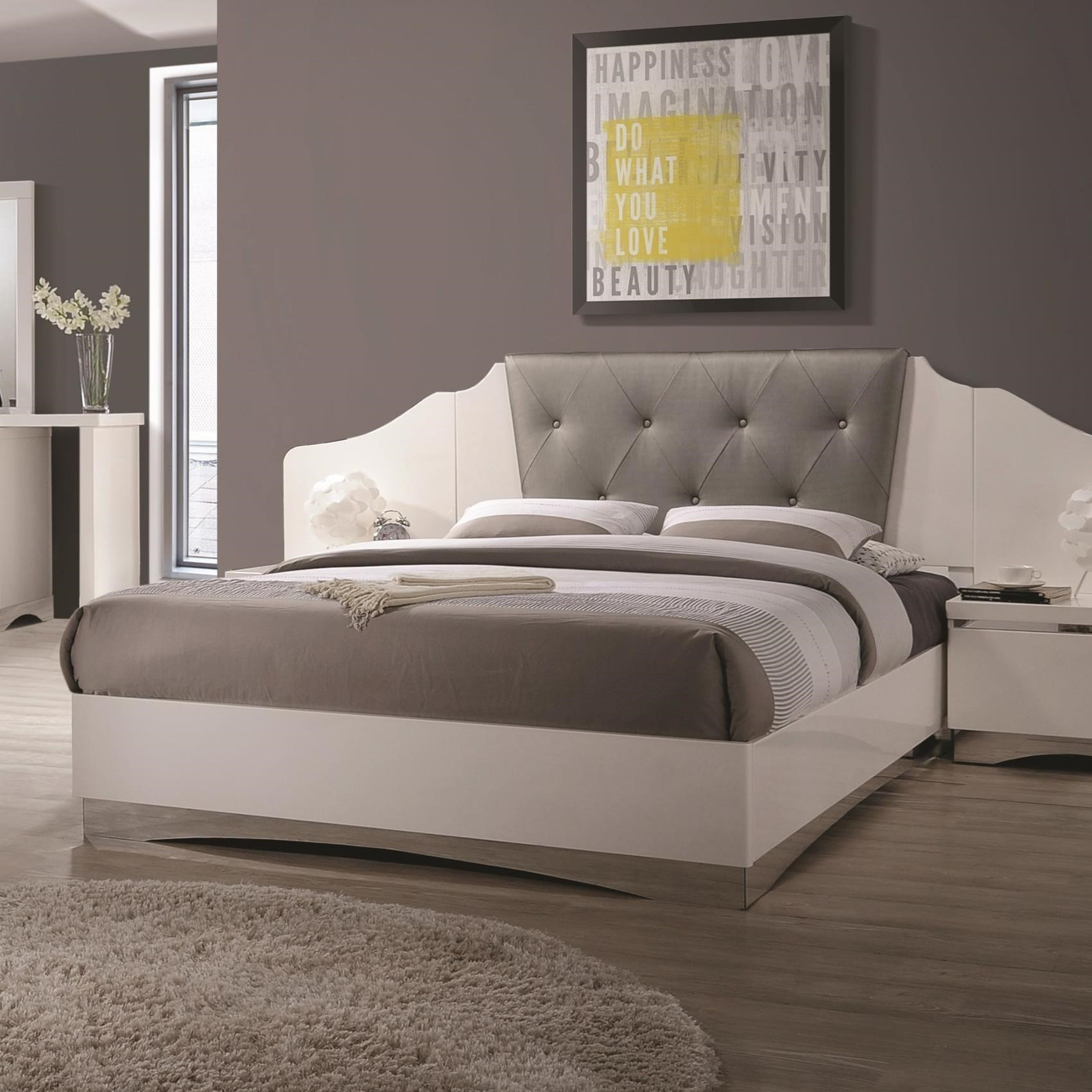 Alessandro King Low Profile Bed With Upholstered Panel