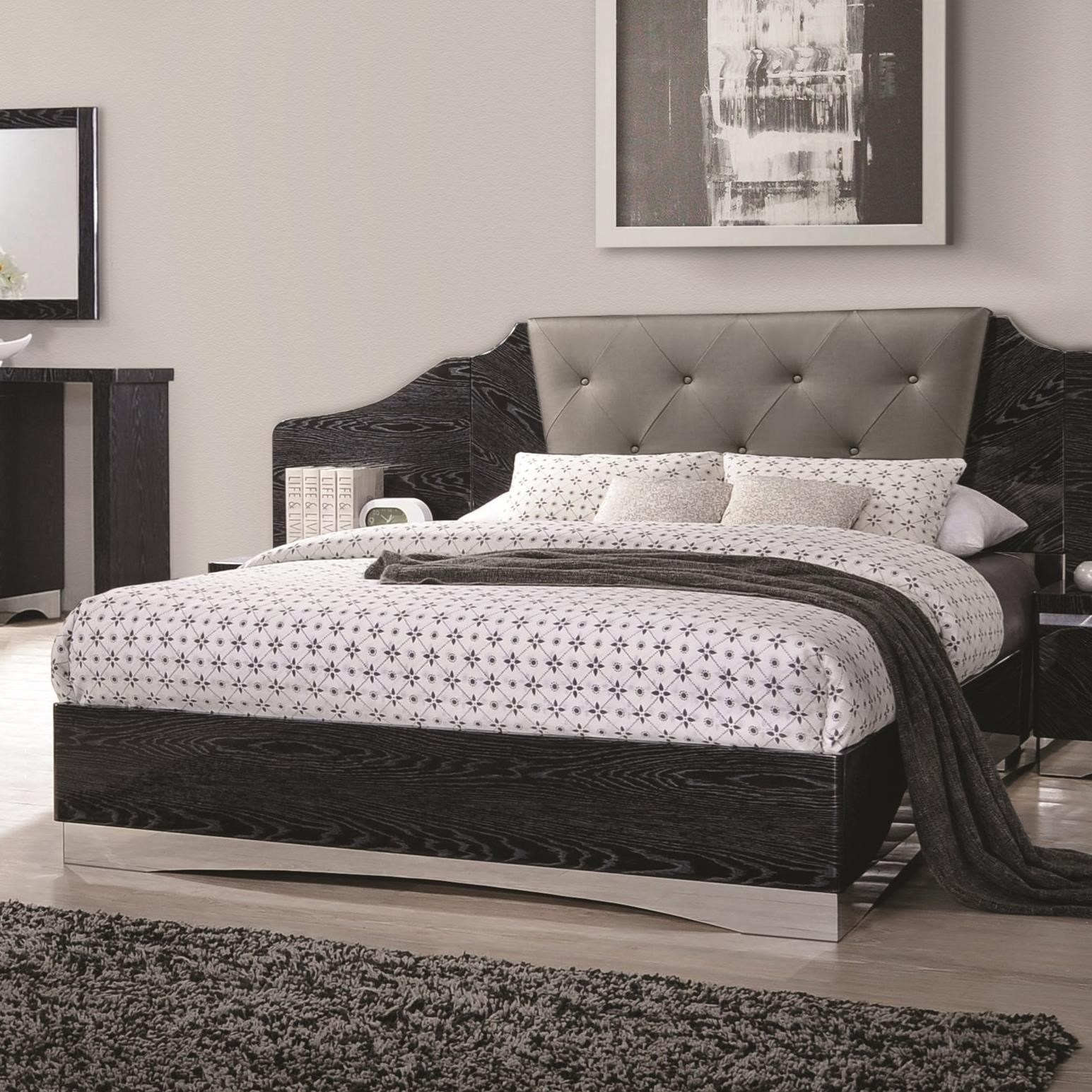 alessandro king low profile bed with upholstered panel headboard quality furniture at. Black Bedroom Furniture Sets. Home Design Ideas