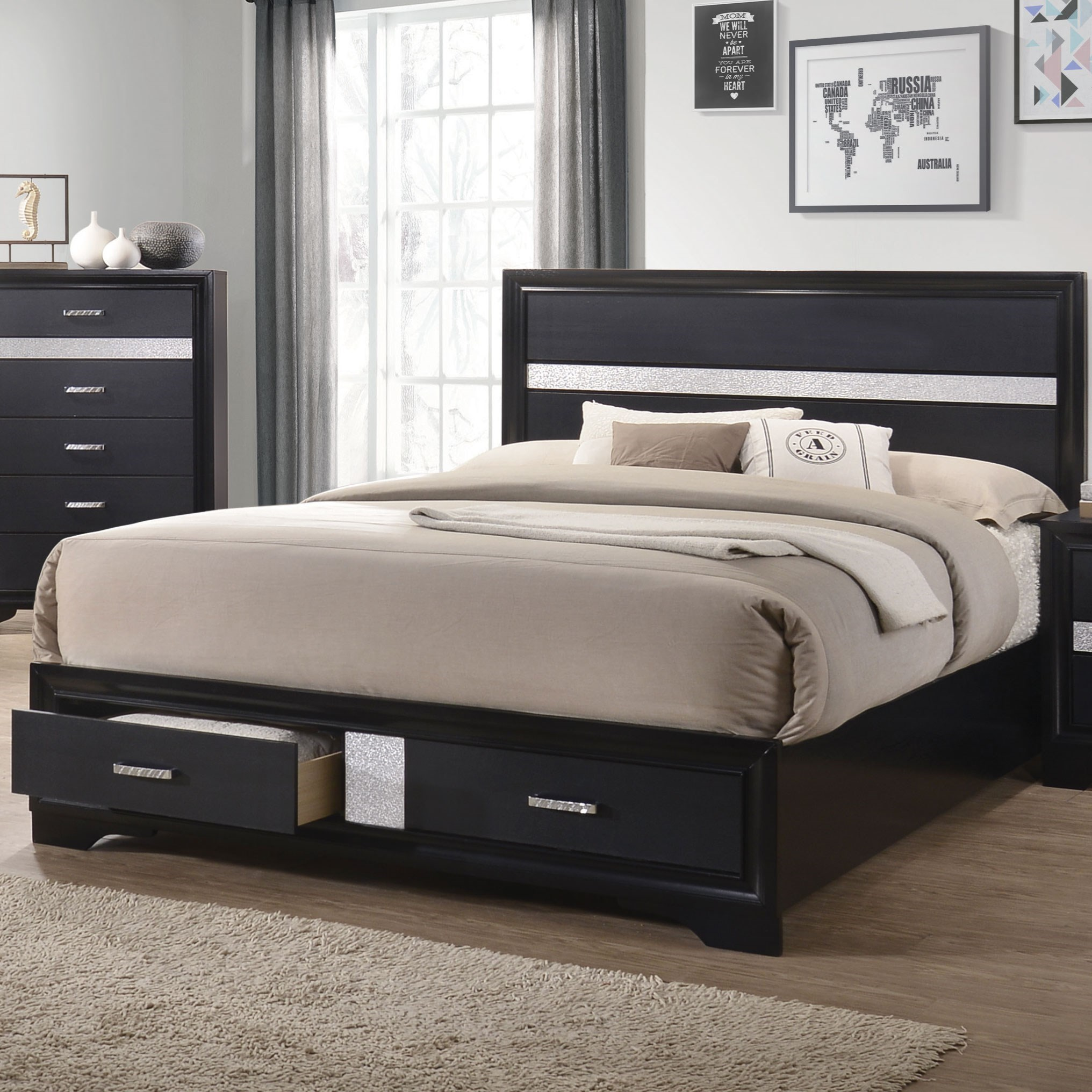 Miranda California King Storage Bed With 2 Dovetail
