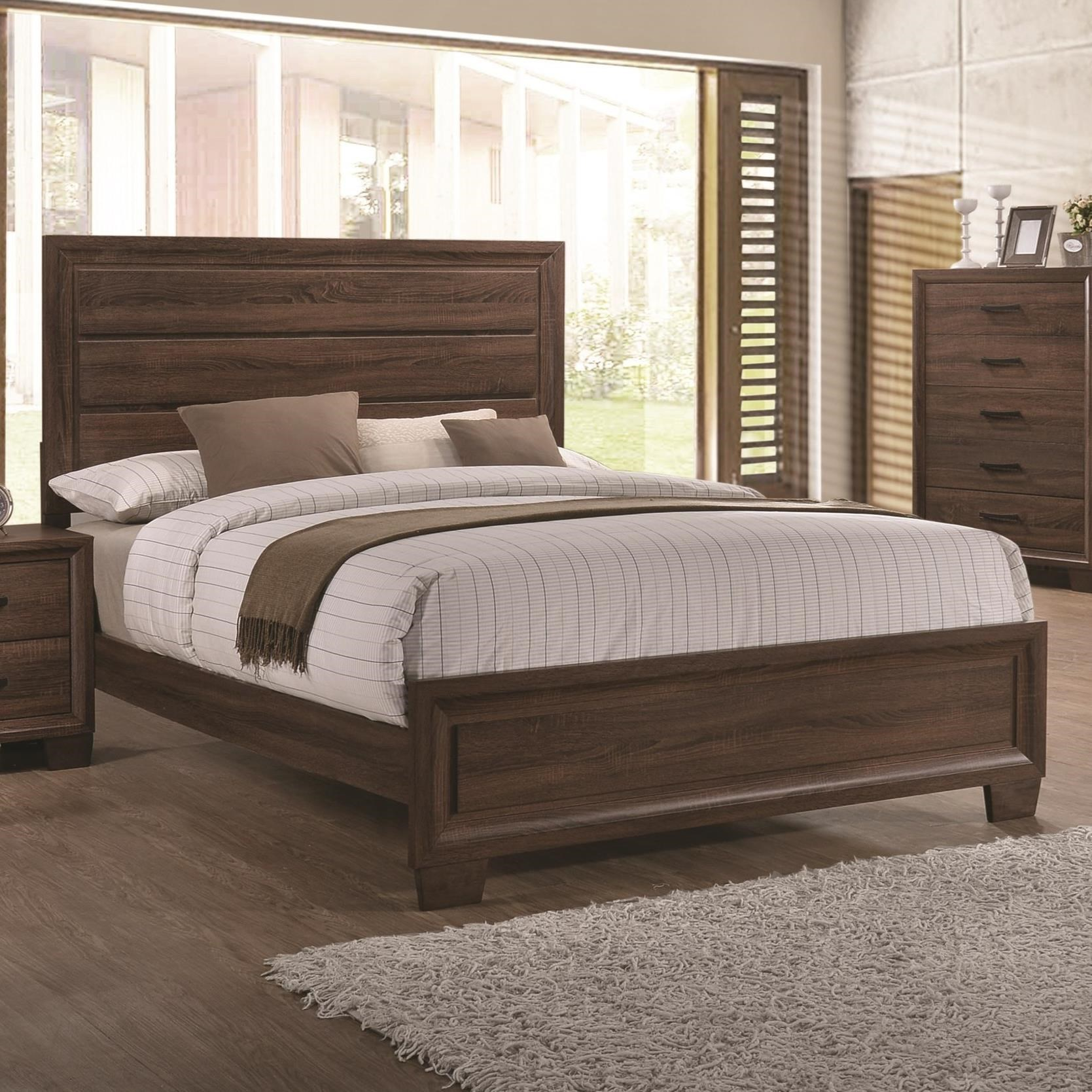 Brandon transitionally styled king panel bed quality for Affordable furniture brandon