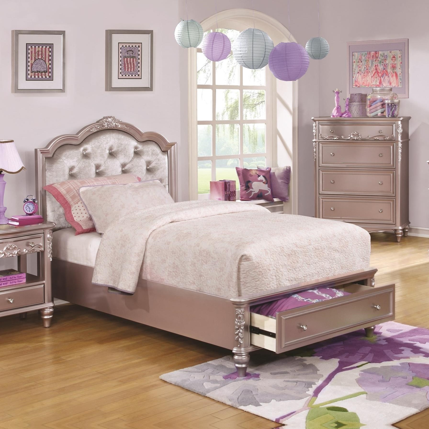Caroline queen size storage bed with diamond tufted for Affordable quality furniture