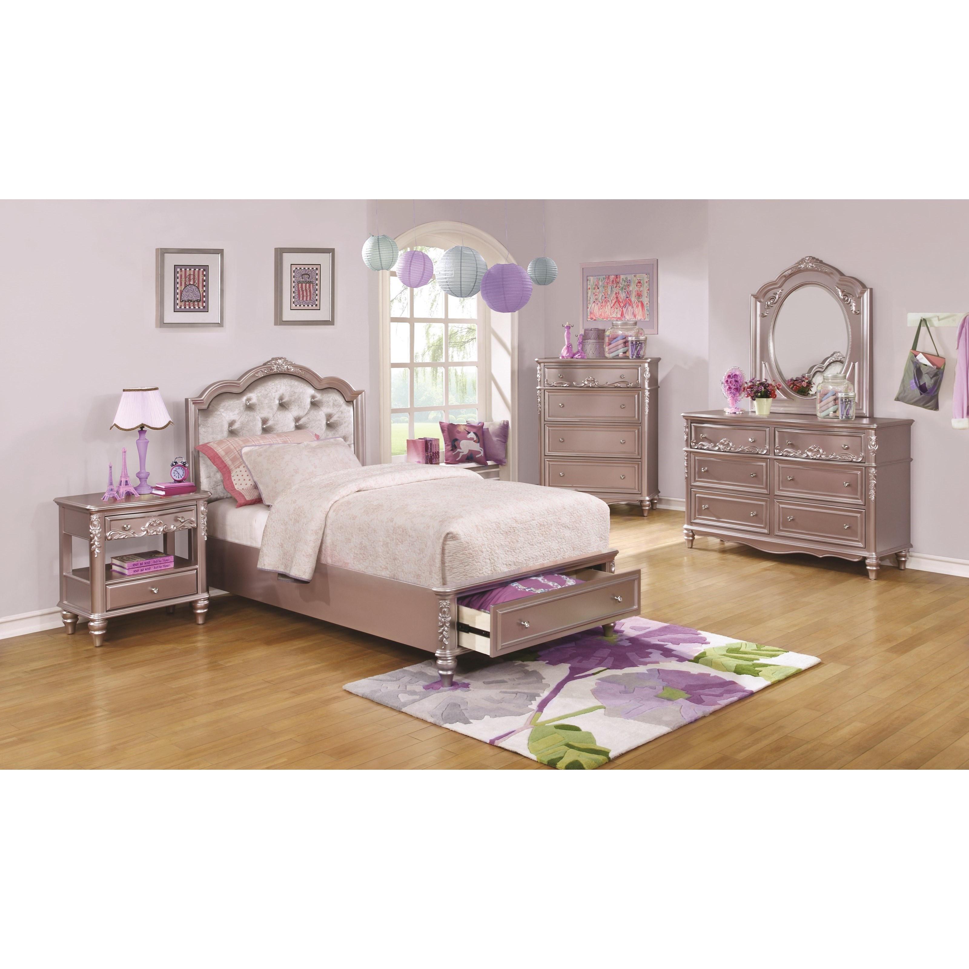 Caroline Twin Size Bed And Diamond Tufted Headboard