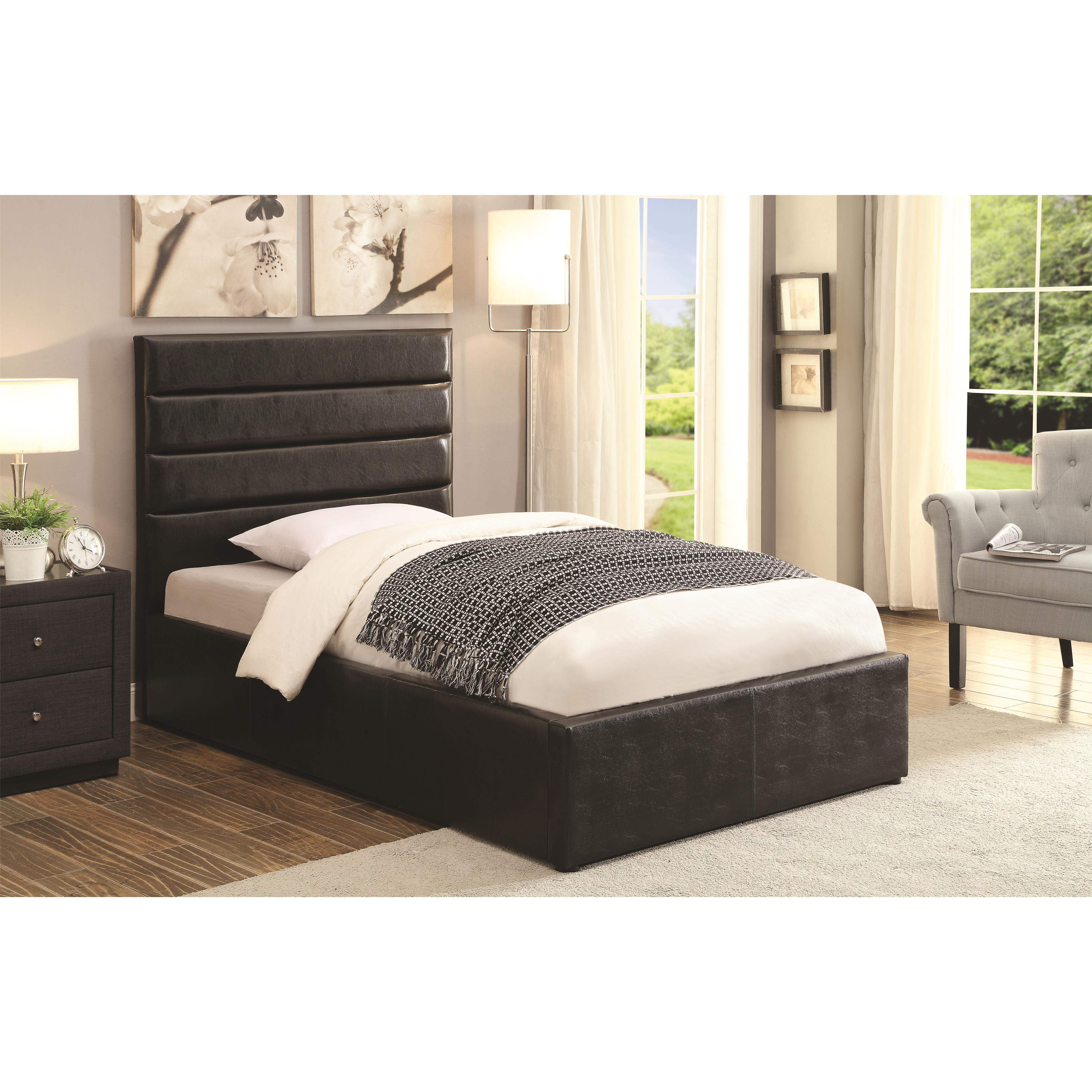 riverbend twin black leatherette upholstered bed with lift top storage quality furniture at. Black Bedroom Furniture Sets. Home Design Ideas