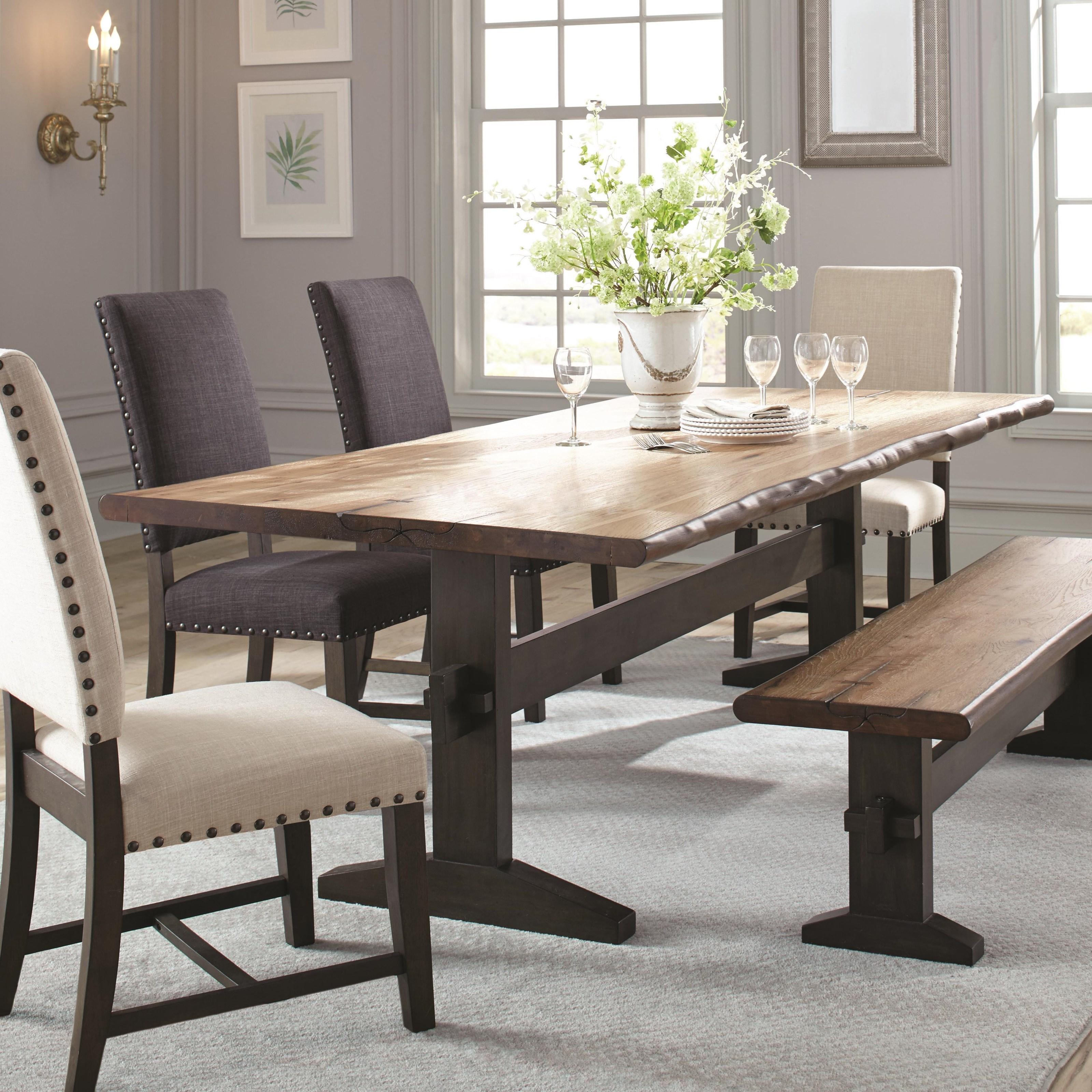 Astounding Burnham Two Tone Live Edge Dining Table With Trestle Base Interior Design Ideas Oxytryabchikinfo